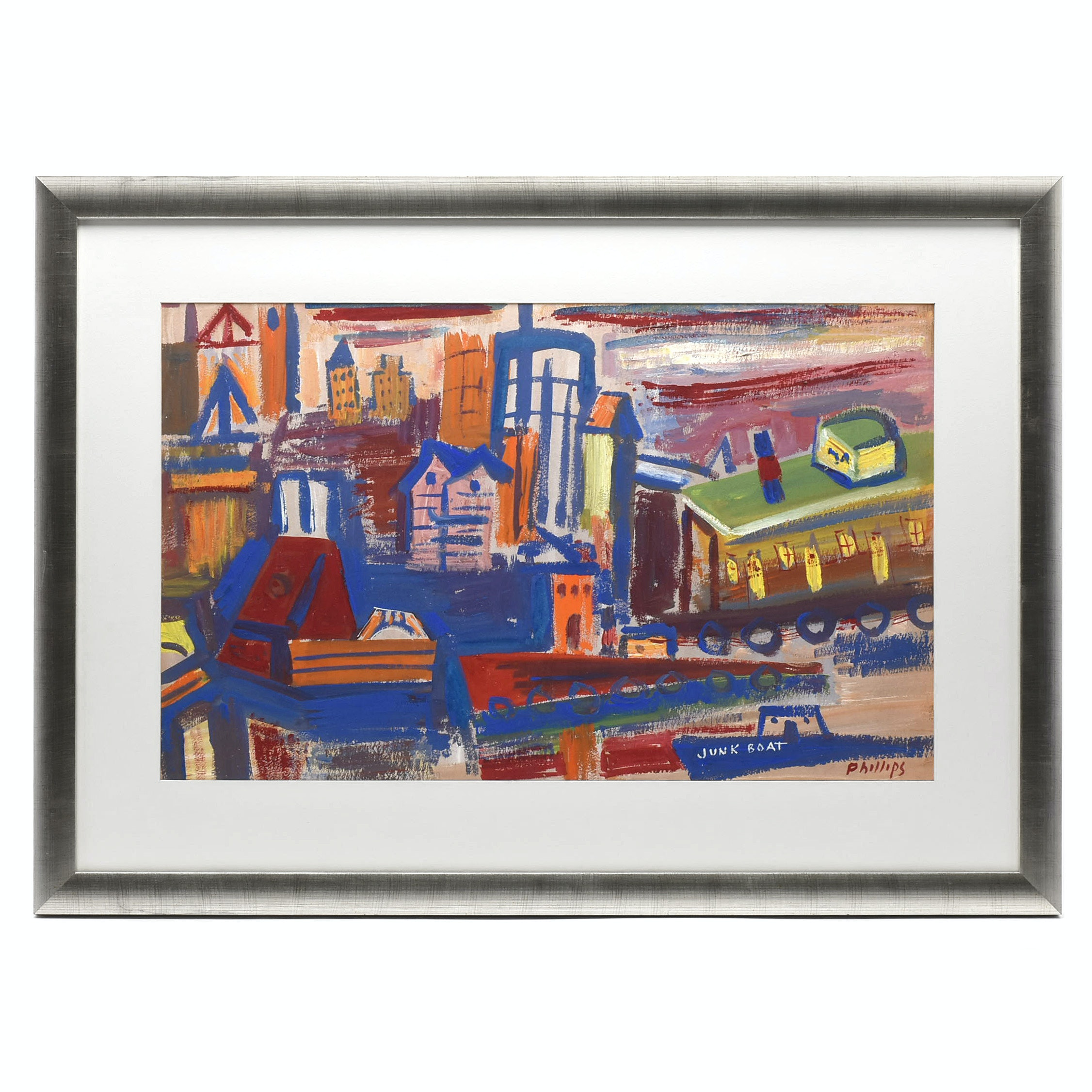 "Esther Phillips Gouache Painting ""Gowanus Canal"""