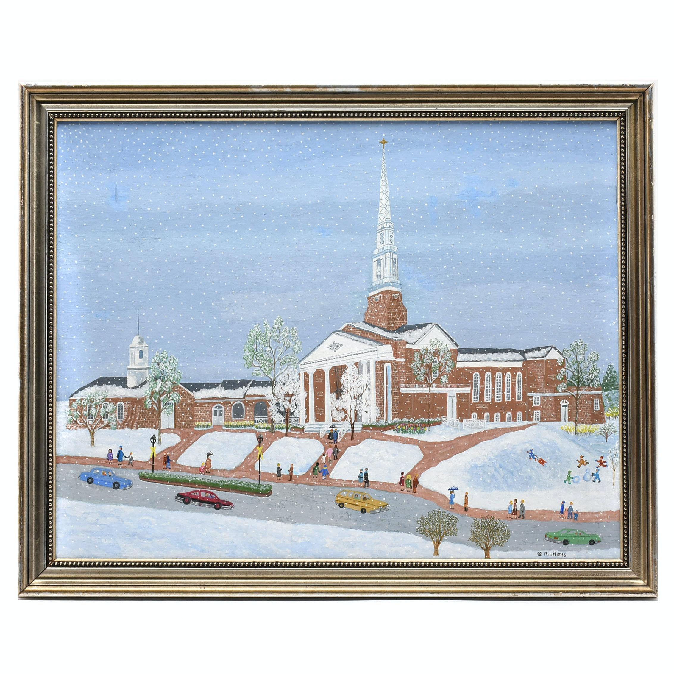 """Inez Hess Acrylic Folk Painting """"Snowy Easter"""""""