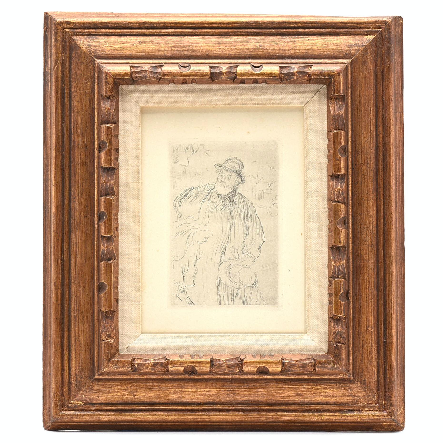 """Jean Francois Raffaelli 1895 Etching """"Le Marchand D'Habits"""""""