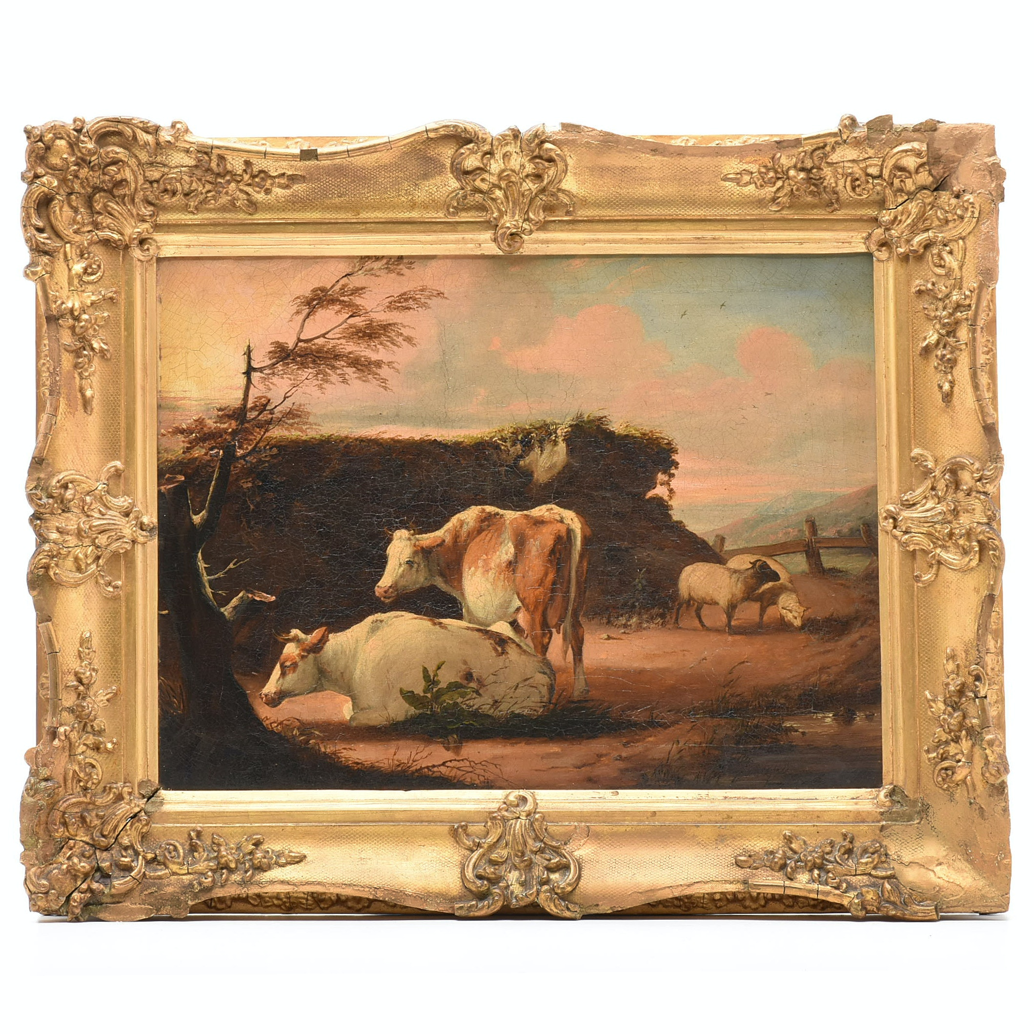 19th Century English School Bucolic Landscape Oil Painting