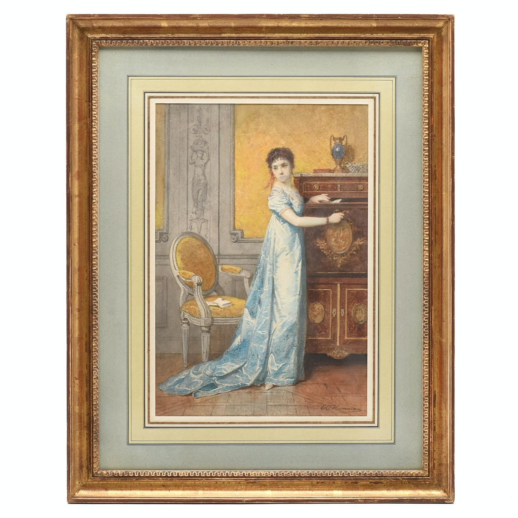 "Edouard-Jean-Conrad Hamman Watercolor ""Elégante au secrétaire"""