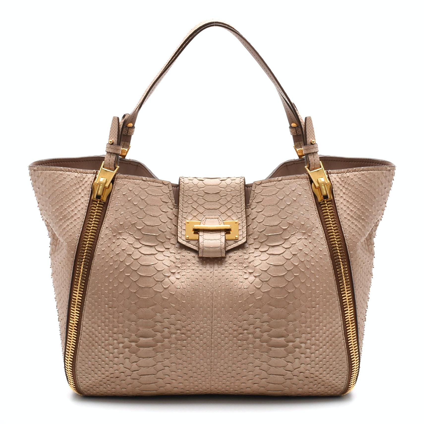 Tom Ford Sedgwick Python Skin and Leather Tote Handbag