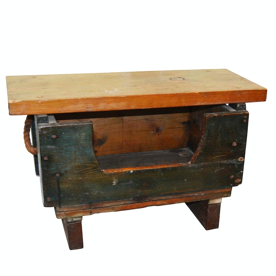 Awesome Vintage Handmade Wood Storage Bench Ncnpc Chair Design For Home Ncnpcorg