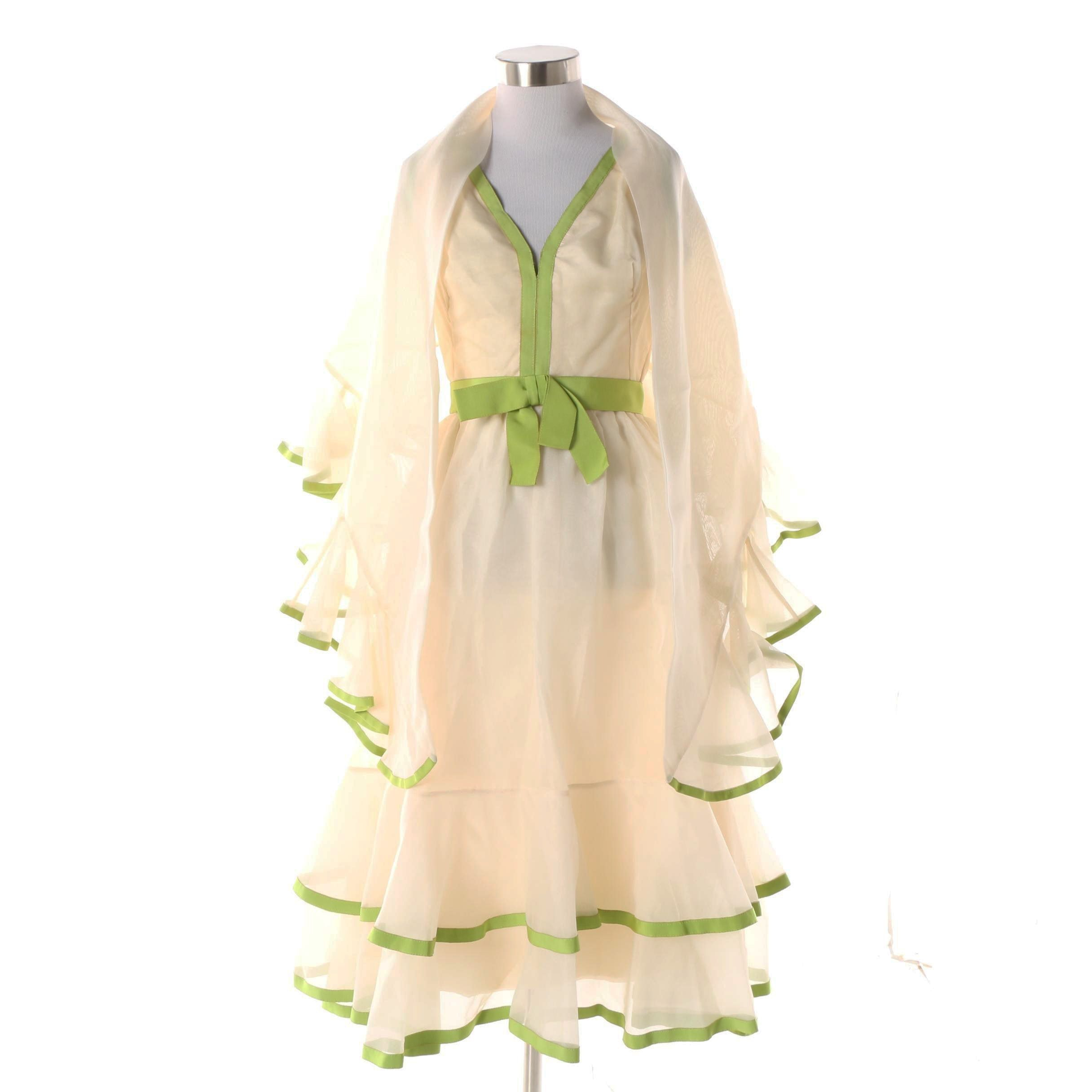 1970s Shannon Rodgers for Jerry Silverman Green and Ivory Dress and Shawl