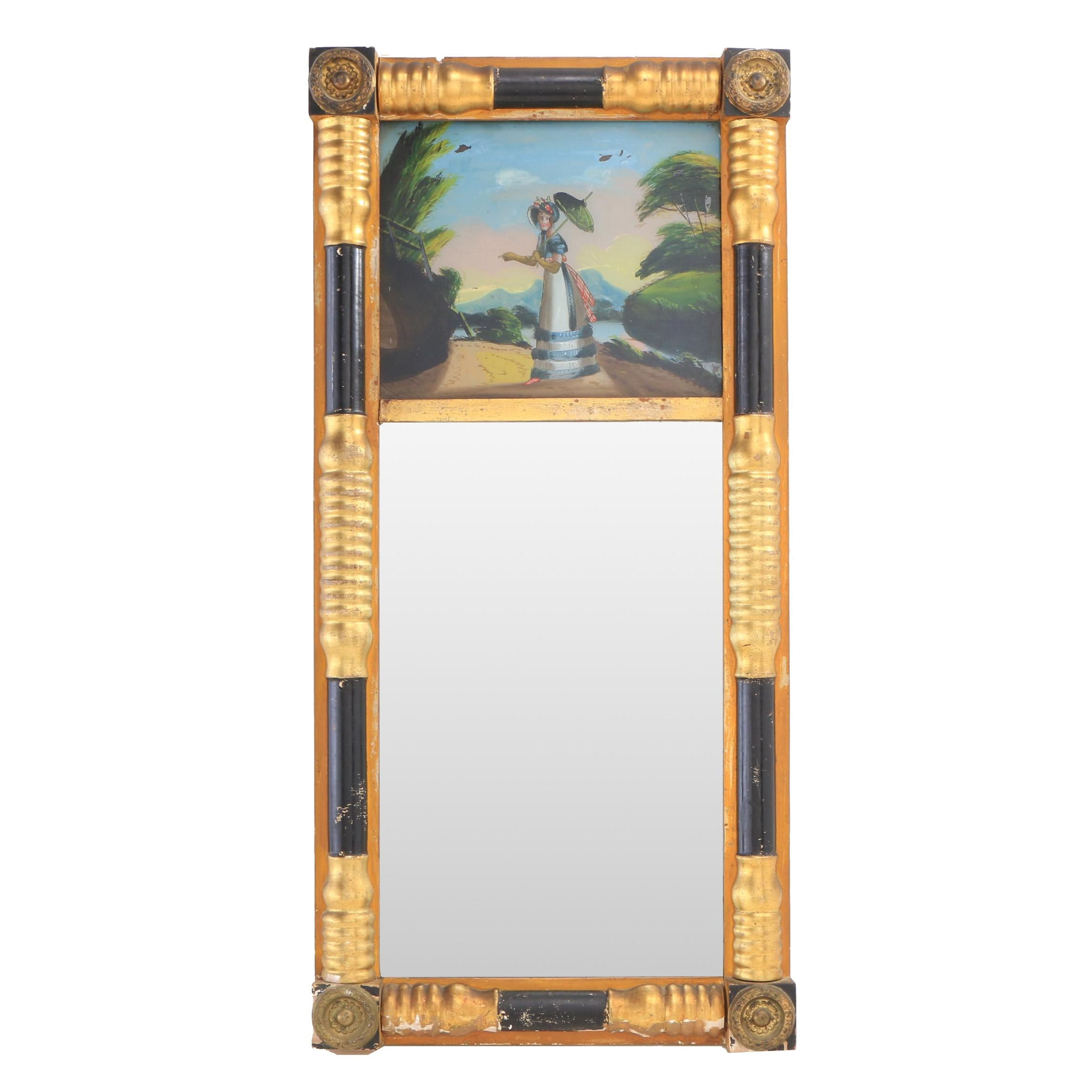 Empire Style Trumeau Mirror with Reverse Painted Panel, Early 20th Century