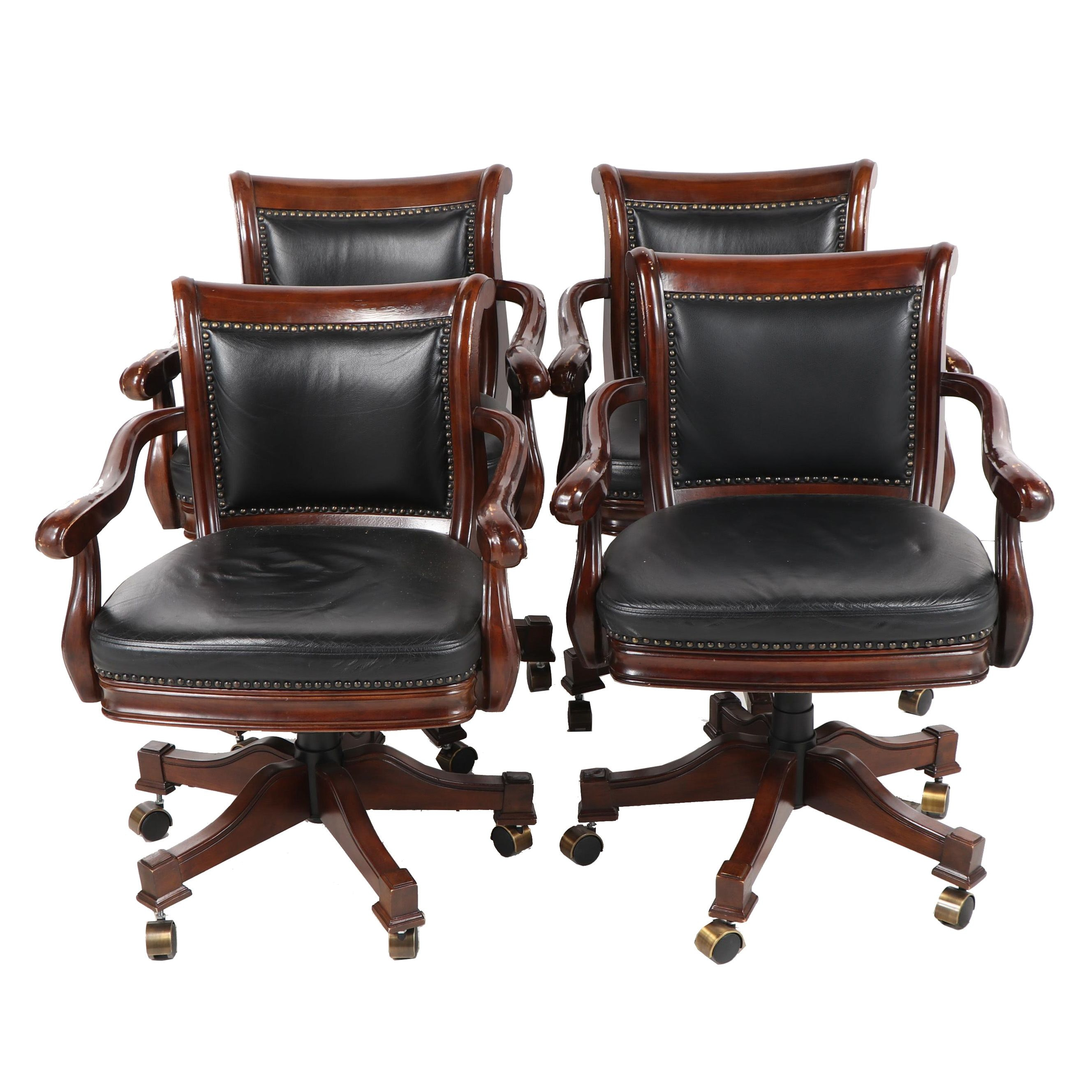 Leather Upholstered Stained Poplar Office Armchairs on Casters, 20th Century