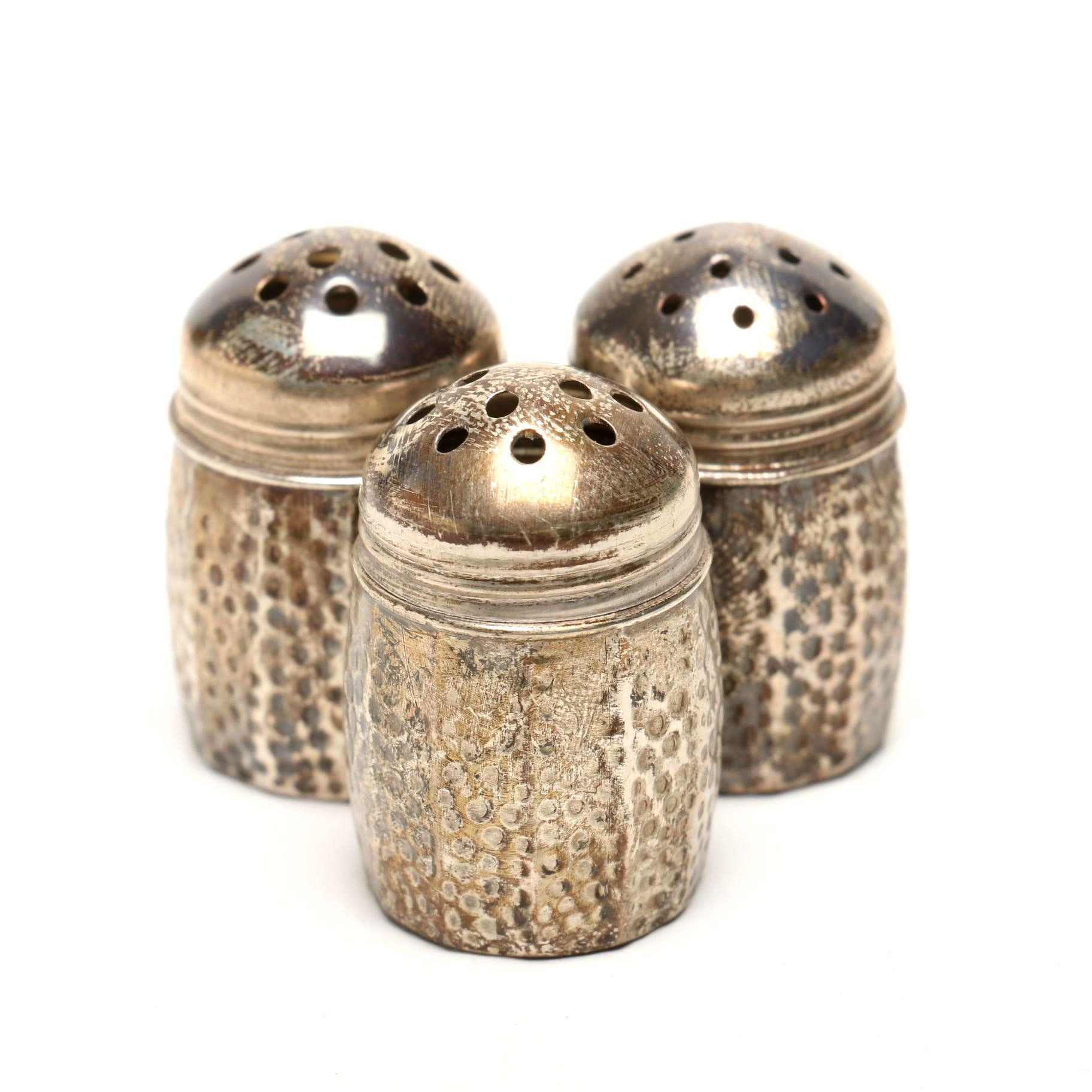 Three Individual Victorian Sterling Salt and Pepper Shakers