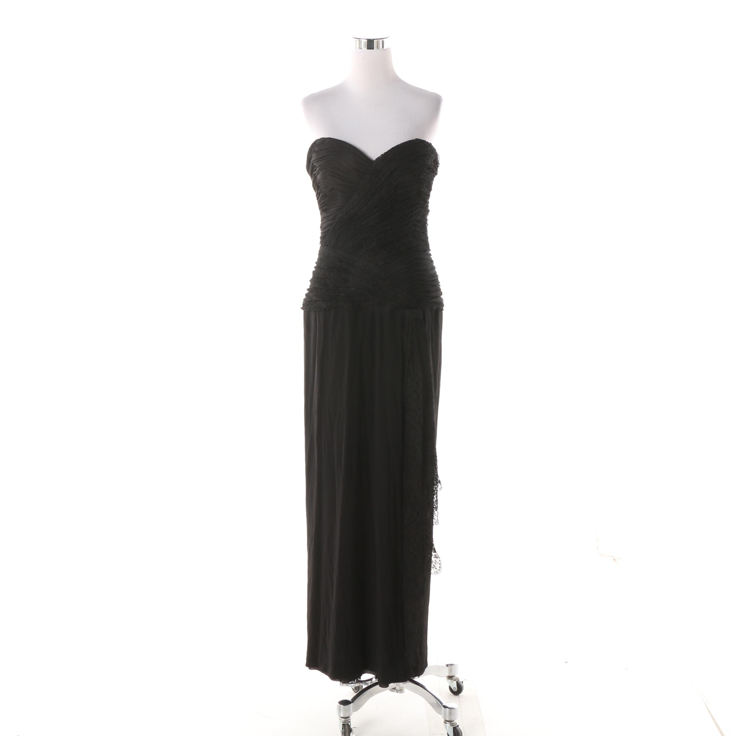 1980s Loris Azzaro Black Strapless Ruched Bodice Gown, Made in France