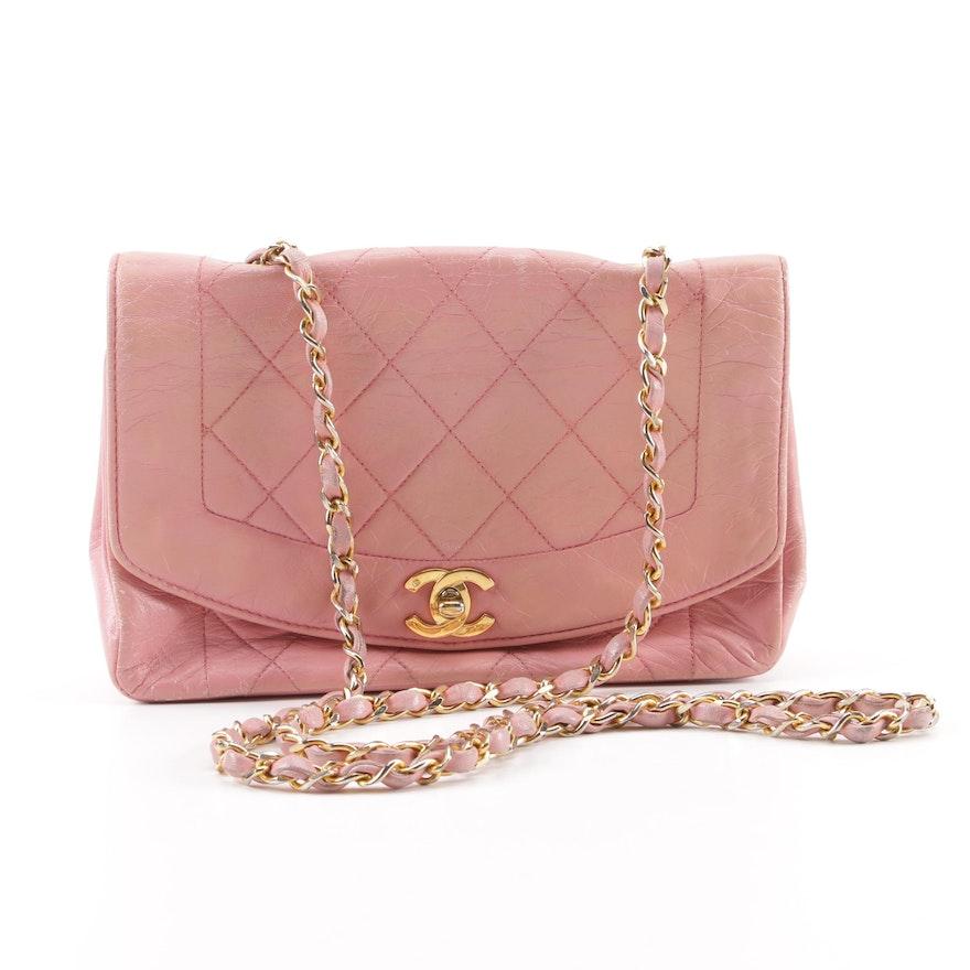 5853f886dcb8 1990s Chanel Diana Quilted Matelassé Pink Leather CC Logo Shoulder Bag ...