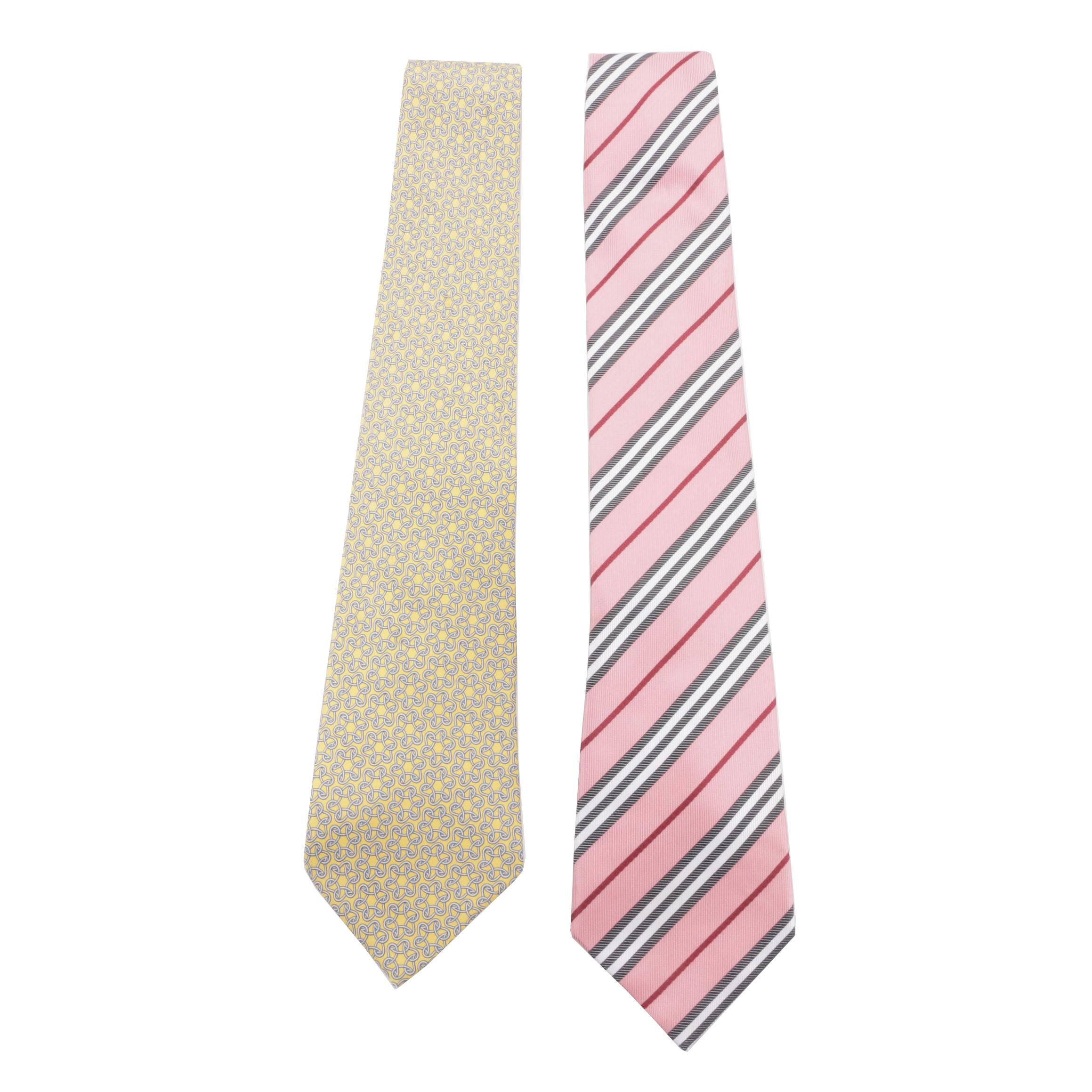 Men's Hermès of Paris and Burberry London Silk Neckties