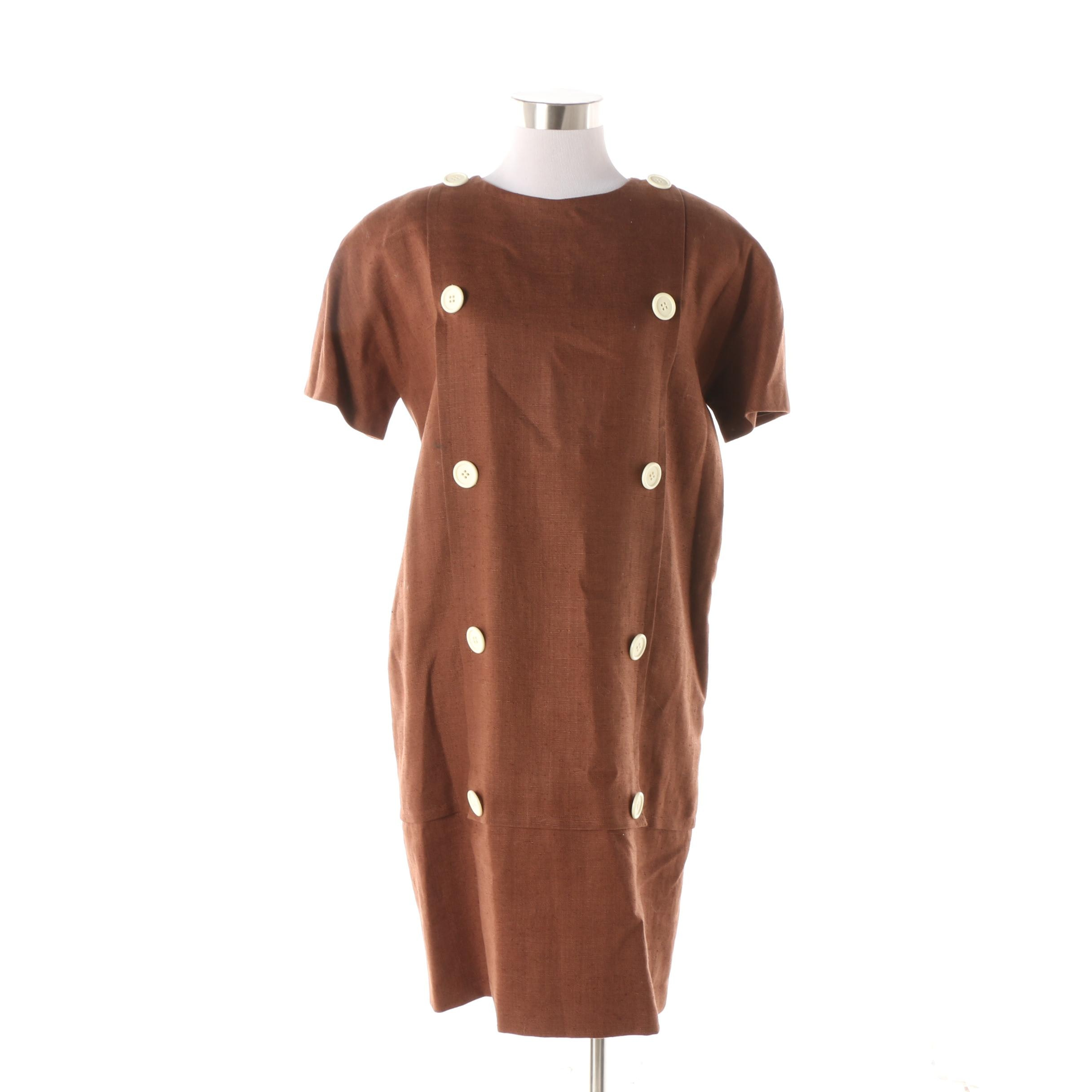 Women's 1990s Vintage Oscar de la Renta Chocolate Brown Wool Blend Shift Dress