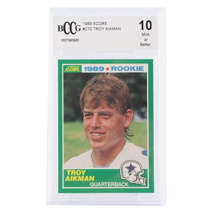 Troy Aikman 1989 Score 270 Rookie Card Bccg Graded Mint 10