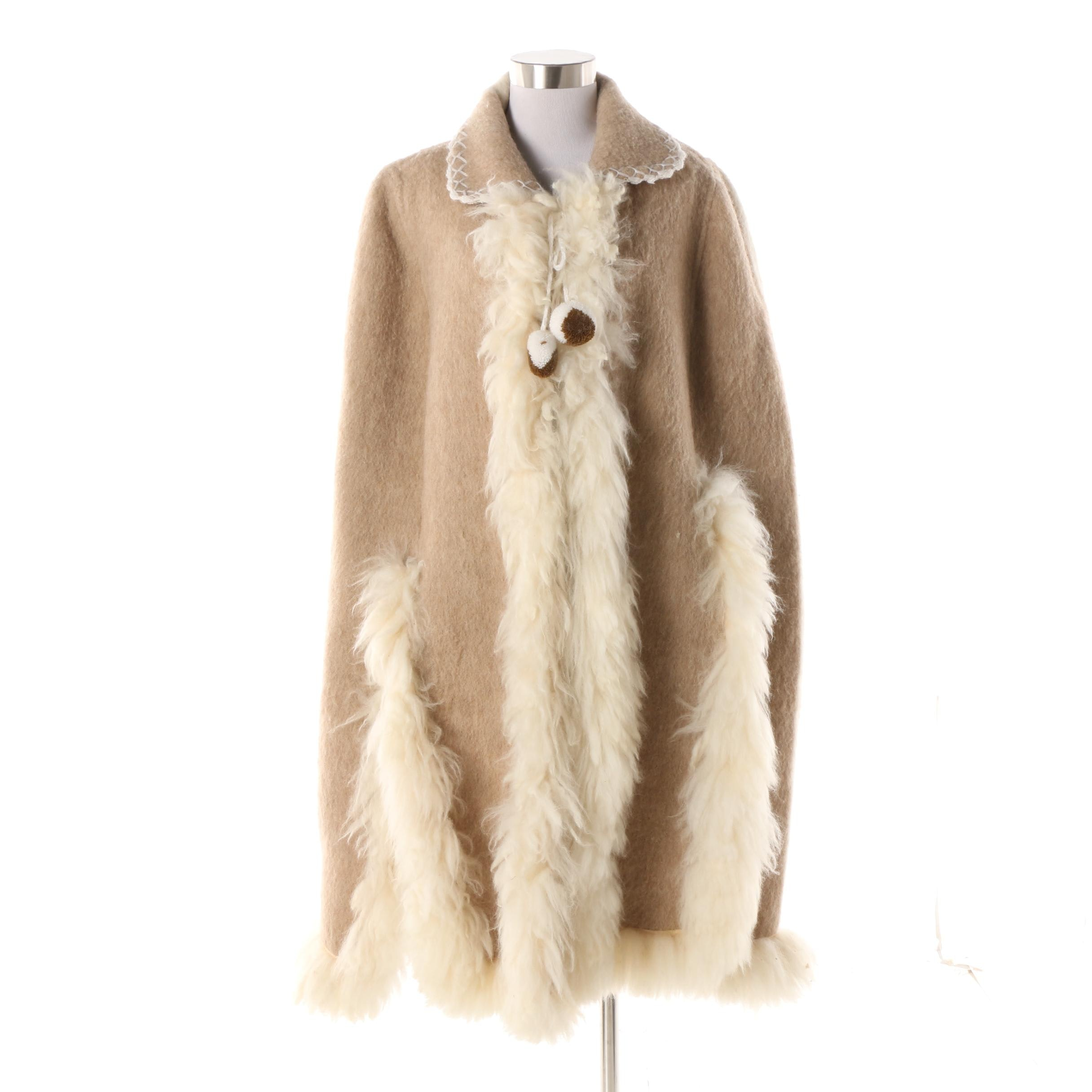1960s Vintage Cream and Tan Mohair Blend Cape with Shearling Trim