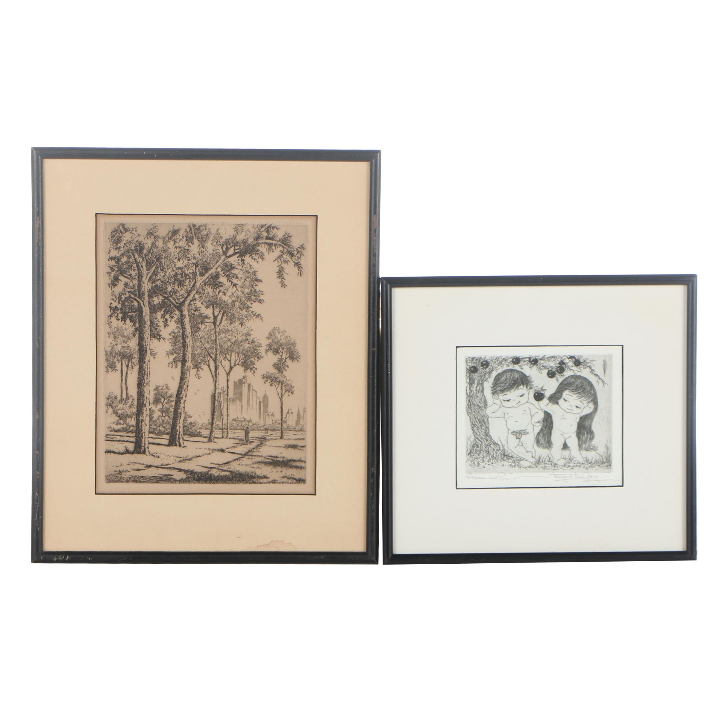 Drypoint Etchings Including Adam and Eve by Margaret Ann Gaug