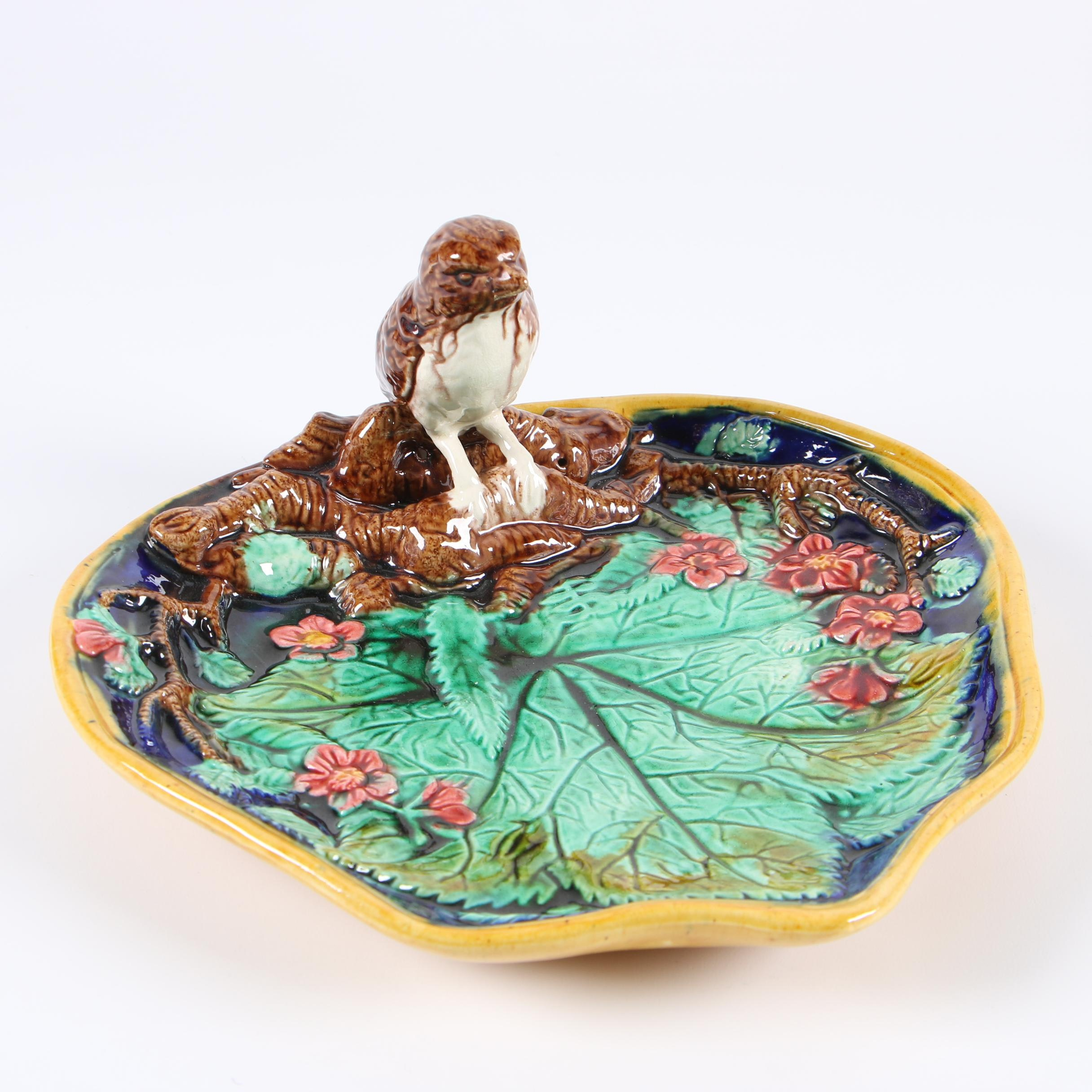 Majolica Painted Ceramic Bird and Leaf Pin Tray