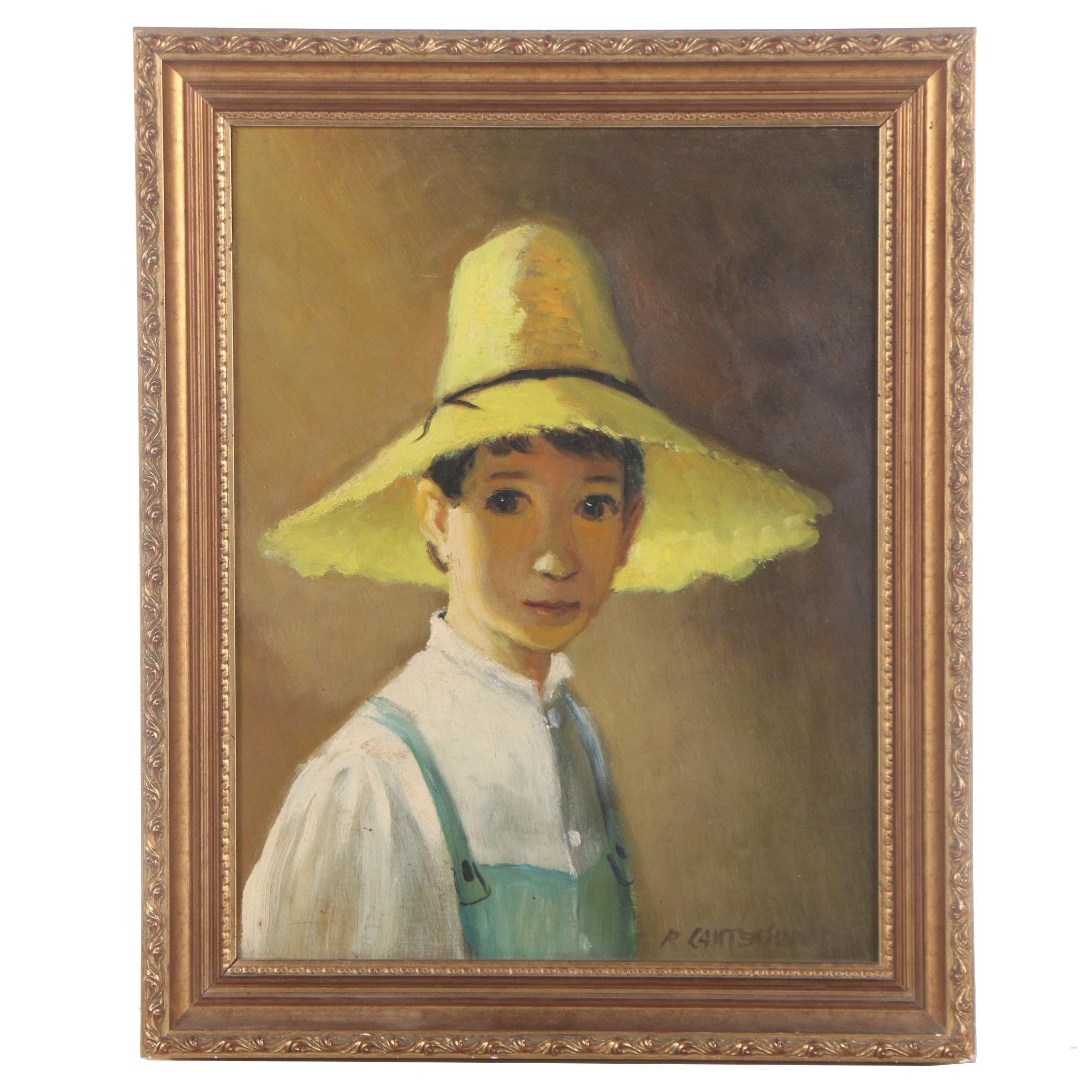 "R. Lautenschoor Oil Painting ""Boy in a Straw Hat"""