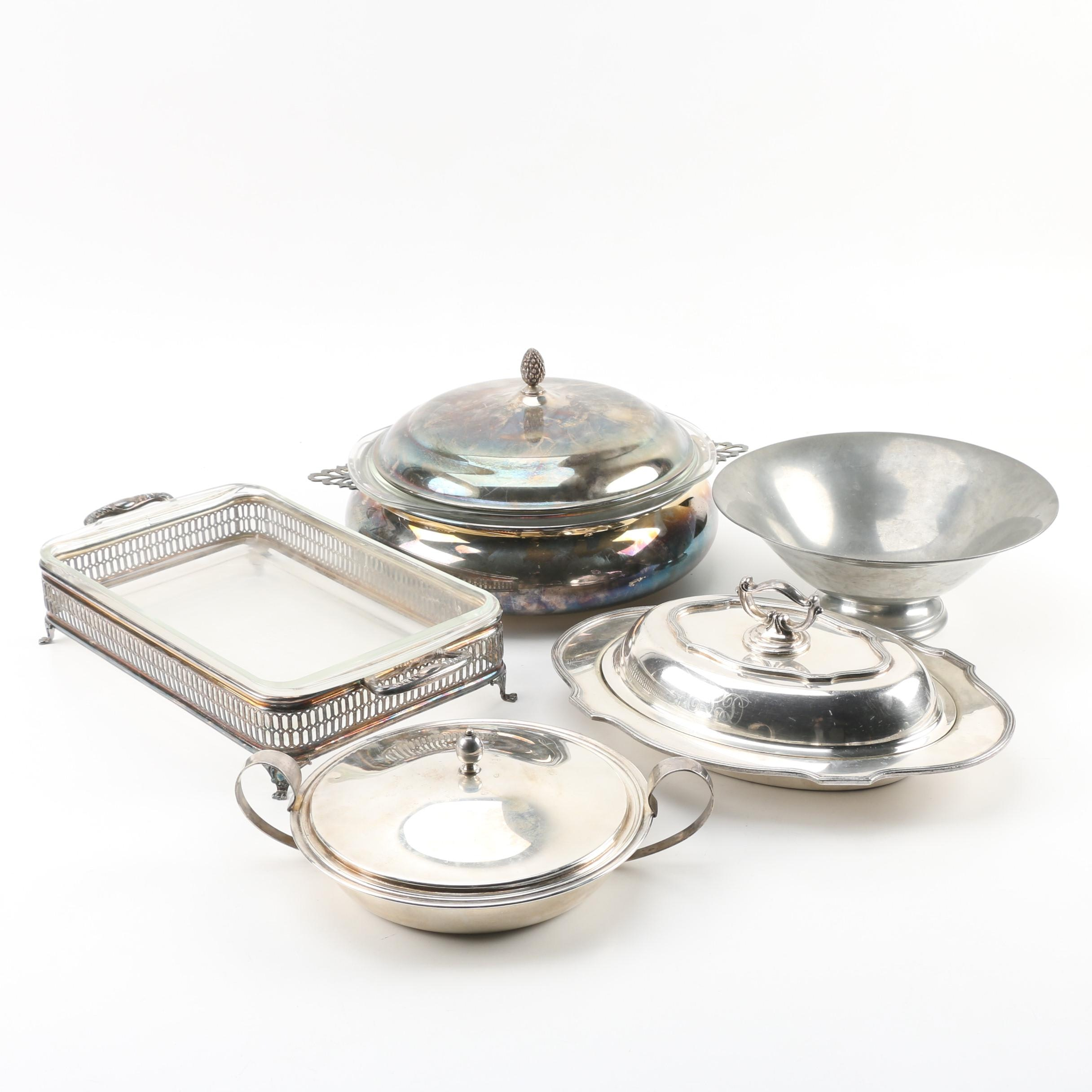 Sheffield Silver Co. Vegetable Dish with Other Silver Plate Serveware and Pewter