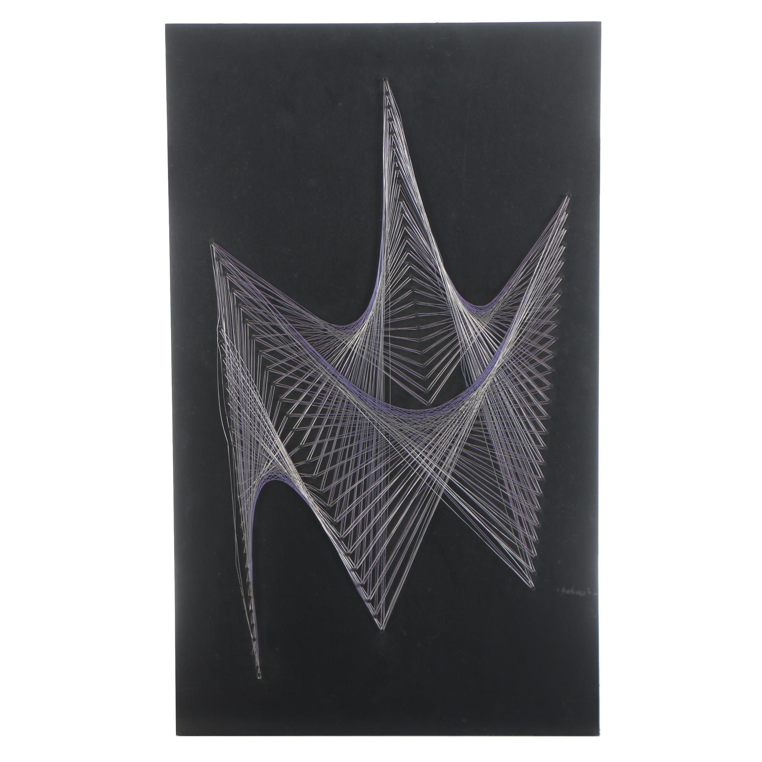 Mid Century Modern Abstract String and Wood Wall Art