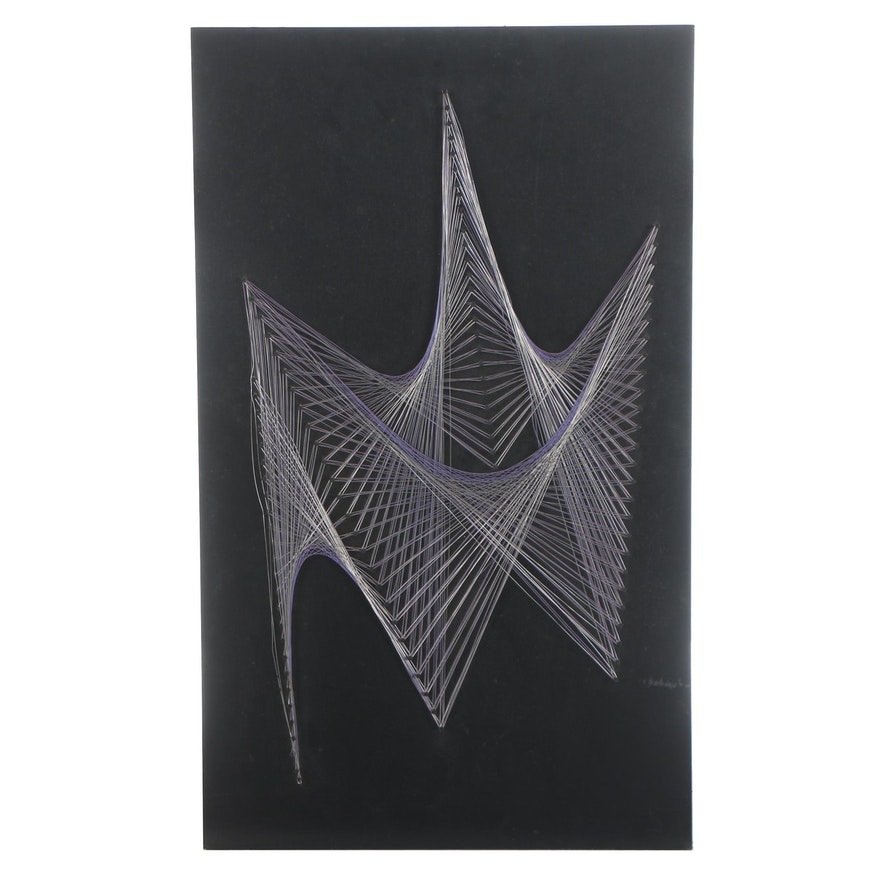 Mid Century Modern Abstract String And Wood Wall Art Ebth
