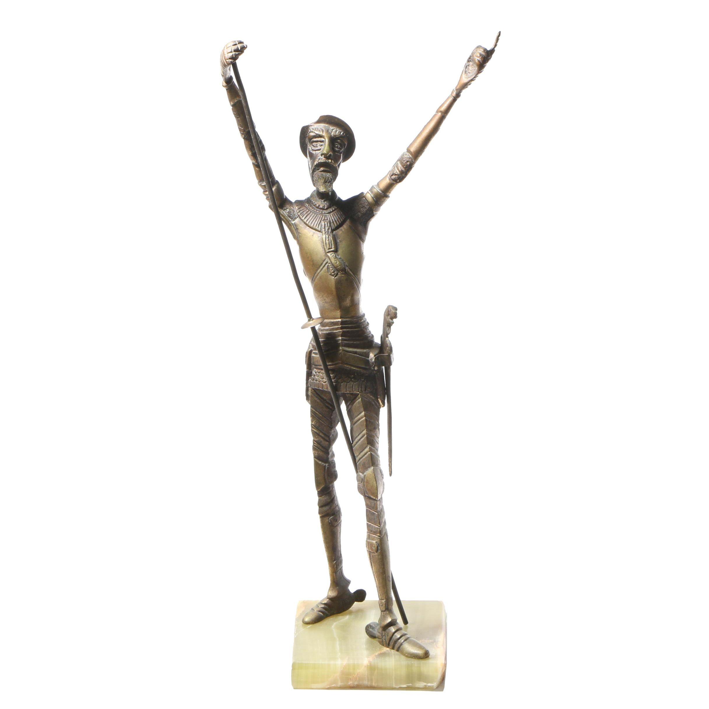 Tall Brass Sculpture of Don Quixote