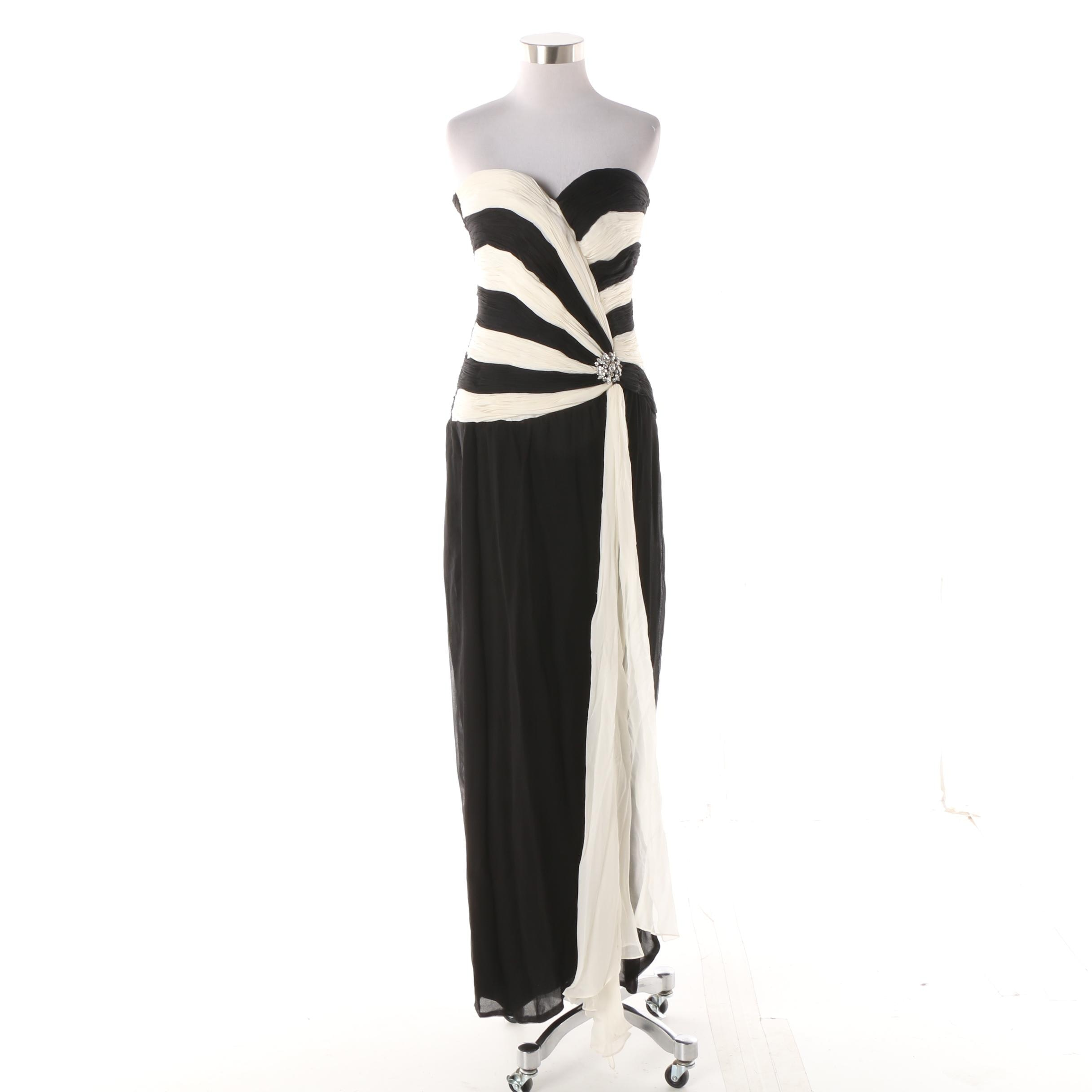 Vintage Grecian Style Evening Gown with Pleats and Rhinestone Detail