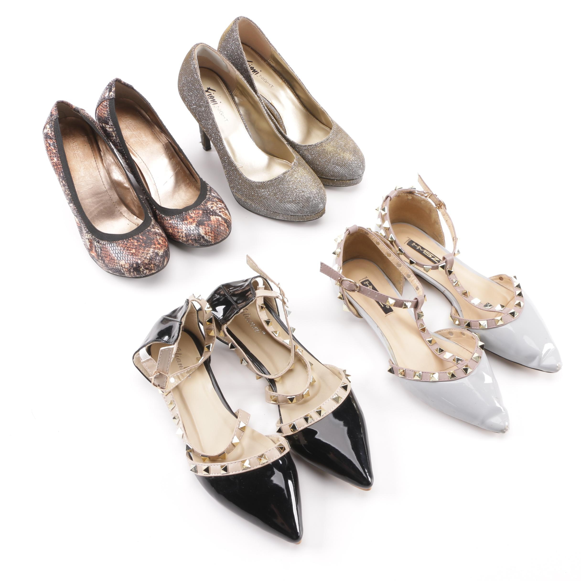 Women's Footwear including Studded Flats and Wedge and Platform Pumps