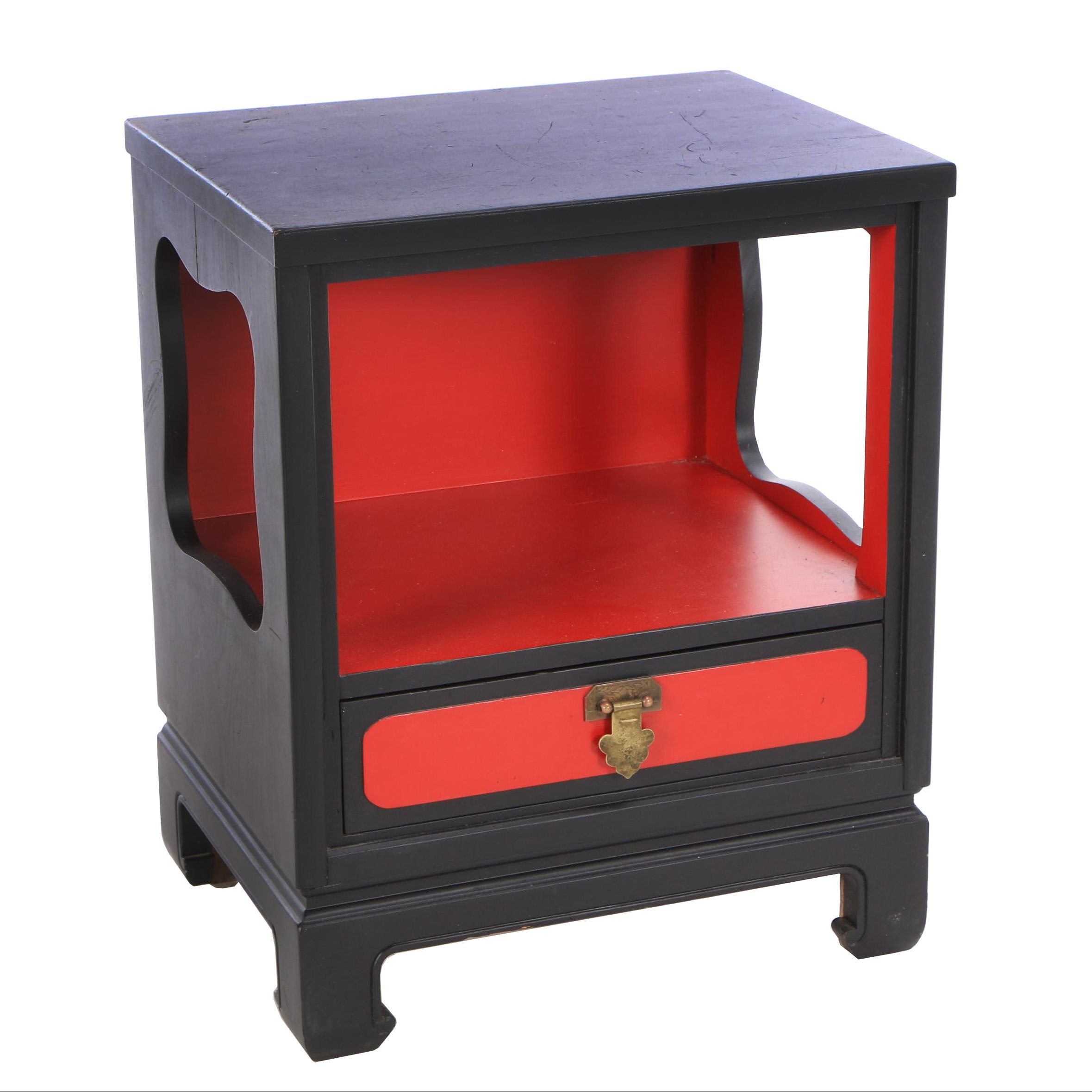 Asian Style Painted Ash Nightstand by  Davis Cabinet Company, Mid-Century