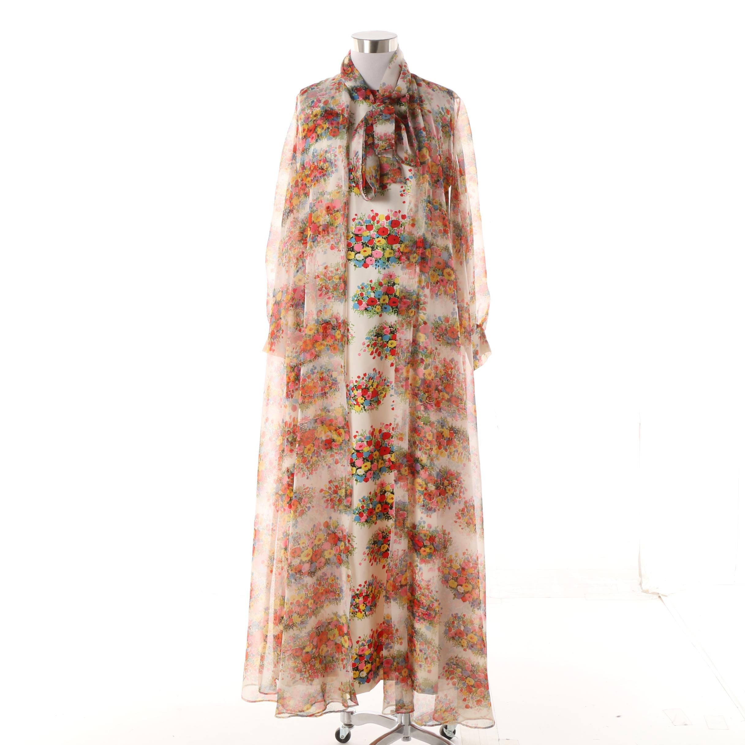 1970s Kohler Collection Silk Twill Floral Print Maxi Dress with Chiffon Coat