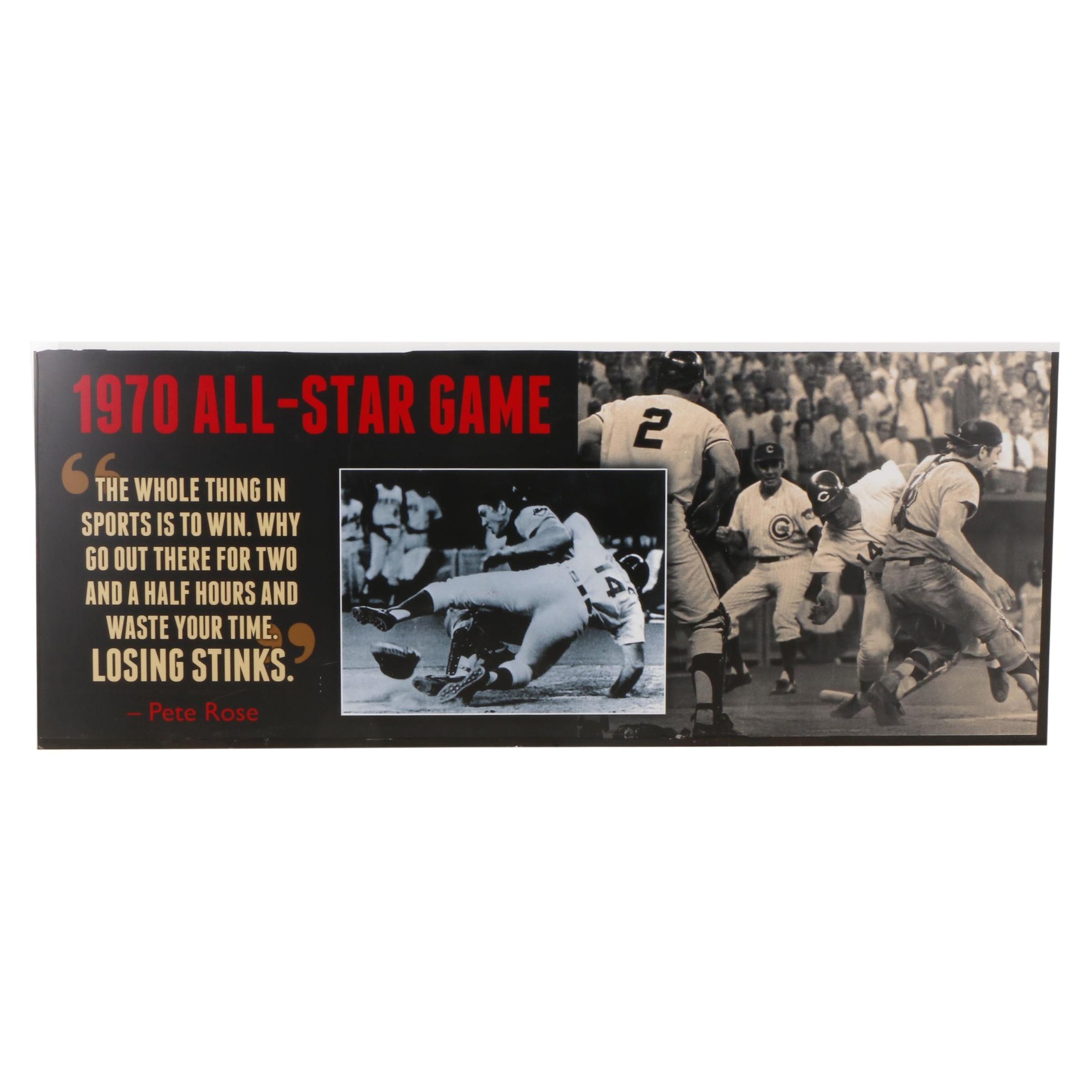 Large 1970s All-Star Game Sign With Pete Rose/Ray Fosse Collision and Quote
