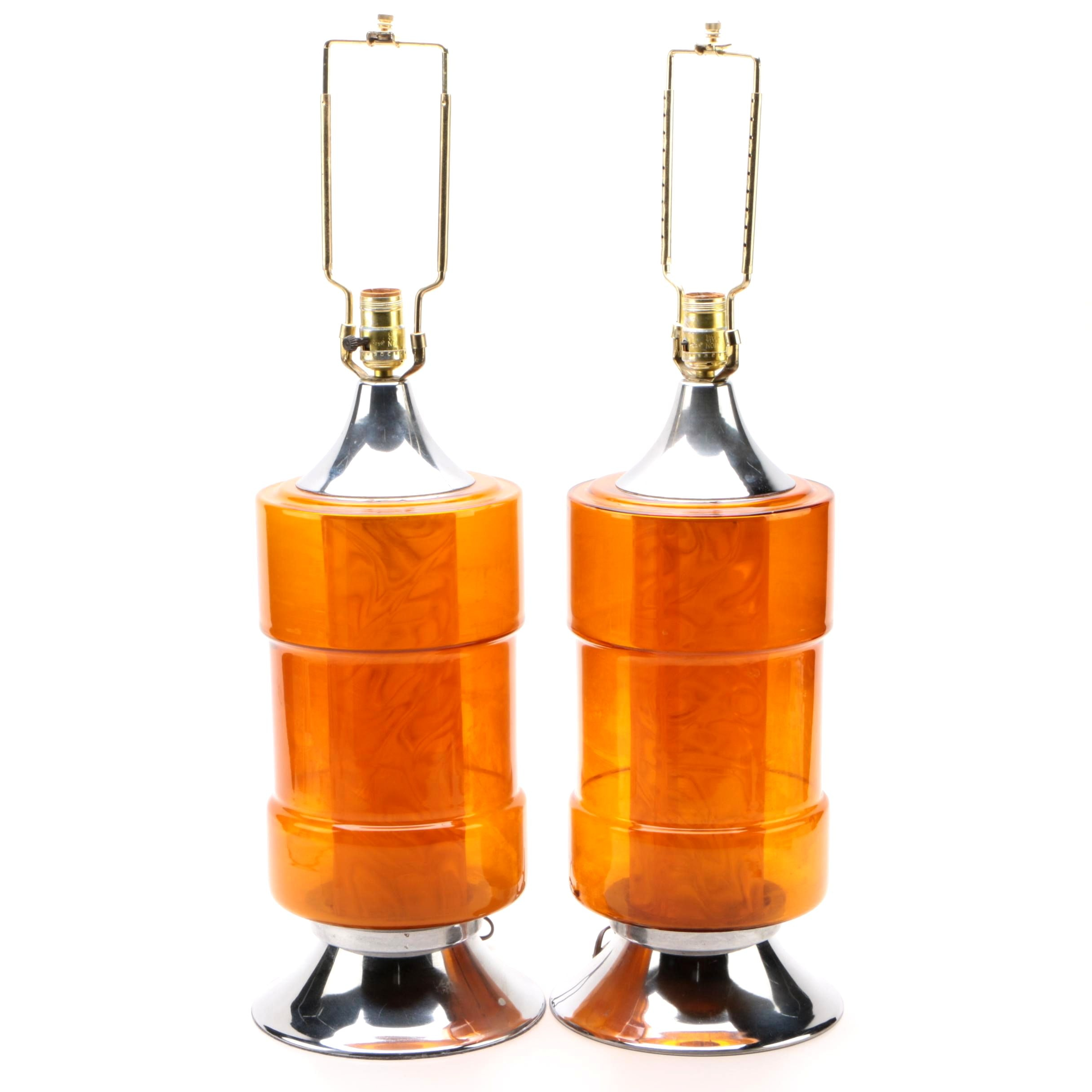 Mid-Century Cylindrical Amber Tint Glass and Chrome Table Lamps