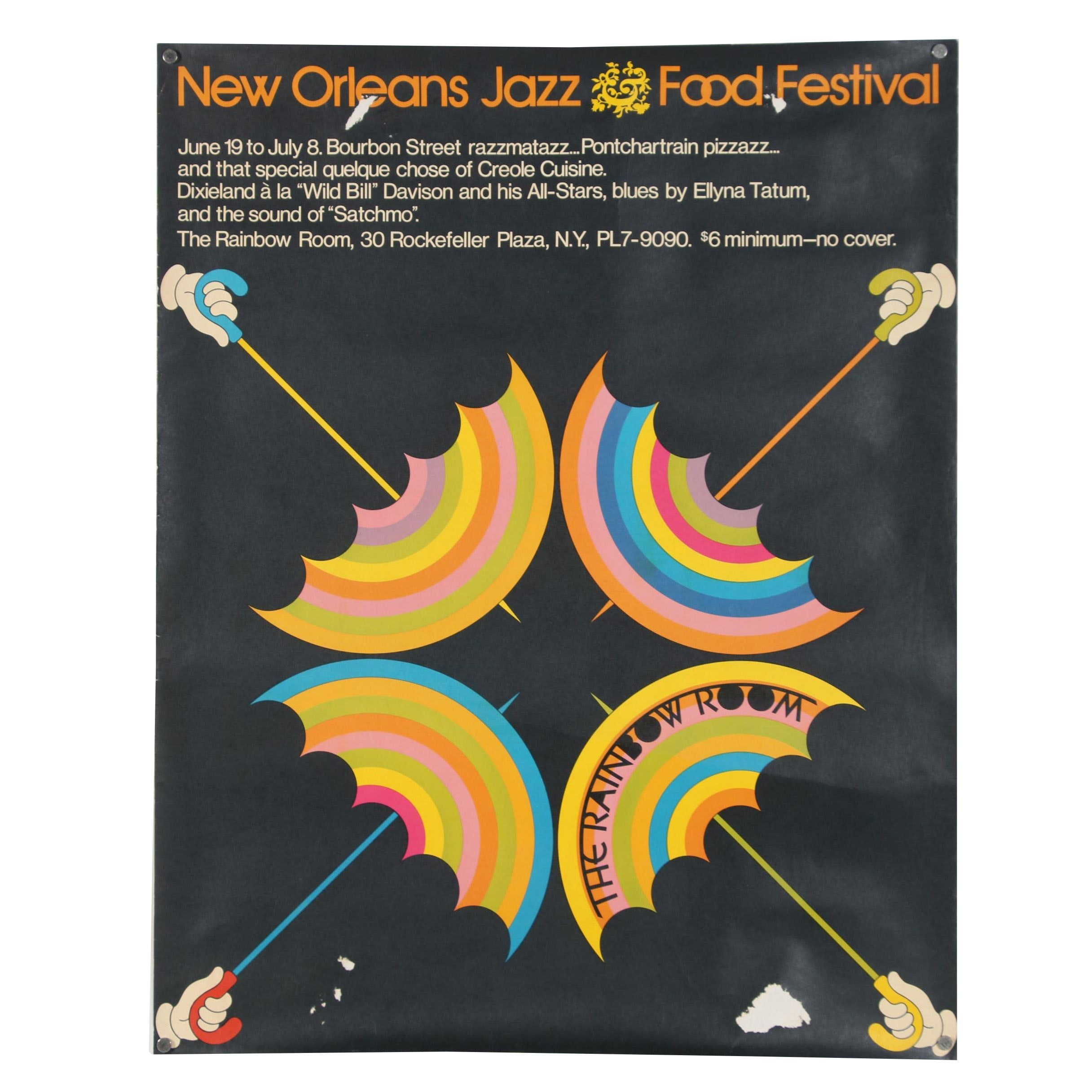 "The Rainbow Room Lithograph Poster ""New Orleans Jazz Food Festival"""
