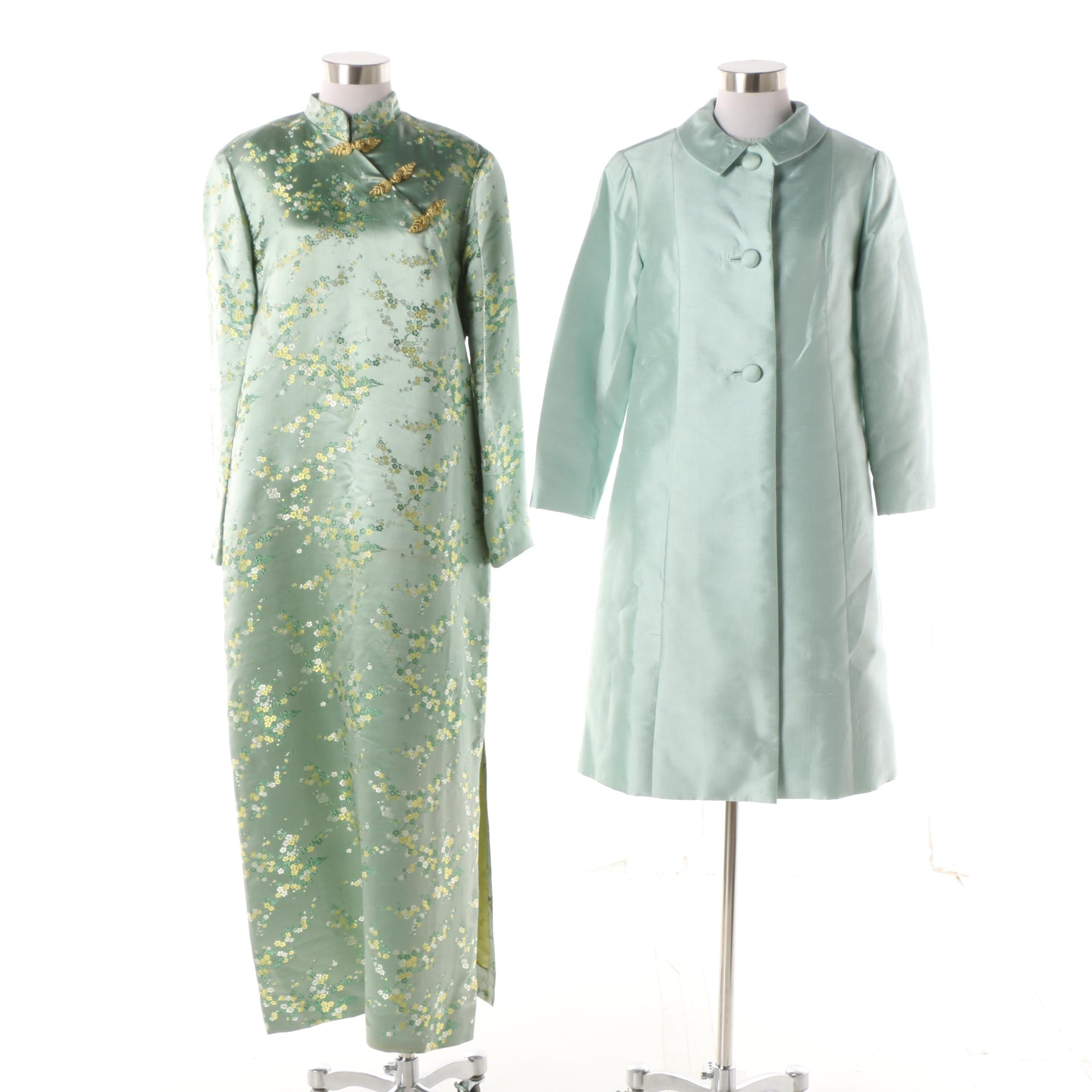1940s Dynasty Dupioni Silk Dress, Jacket and Chinese Frog Button Brocade Maxi