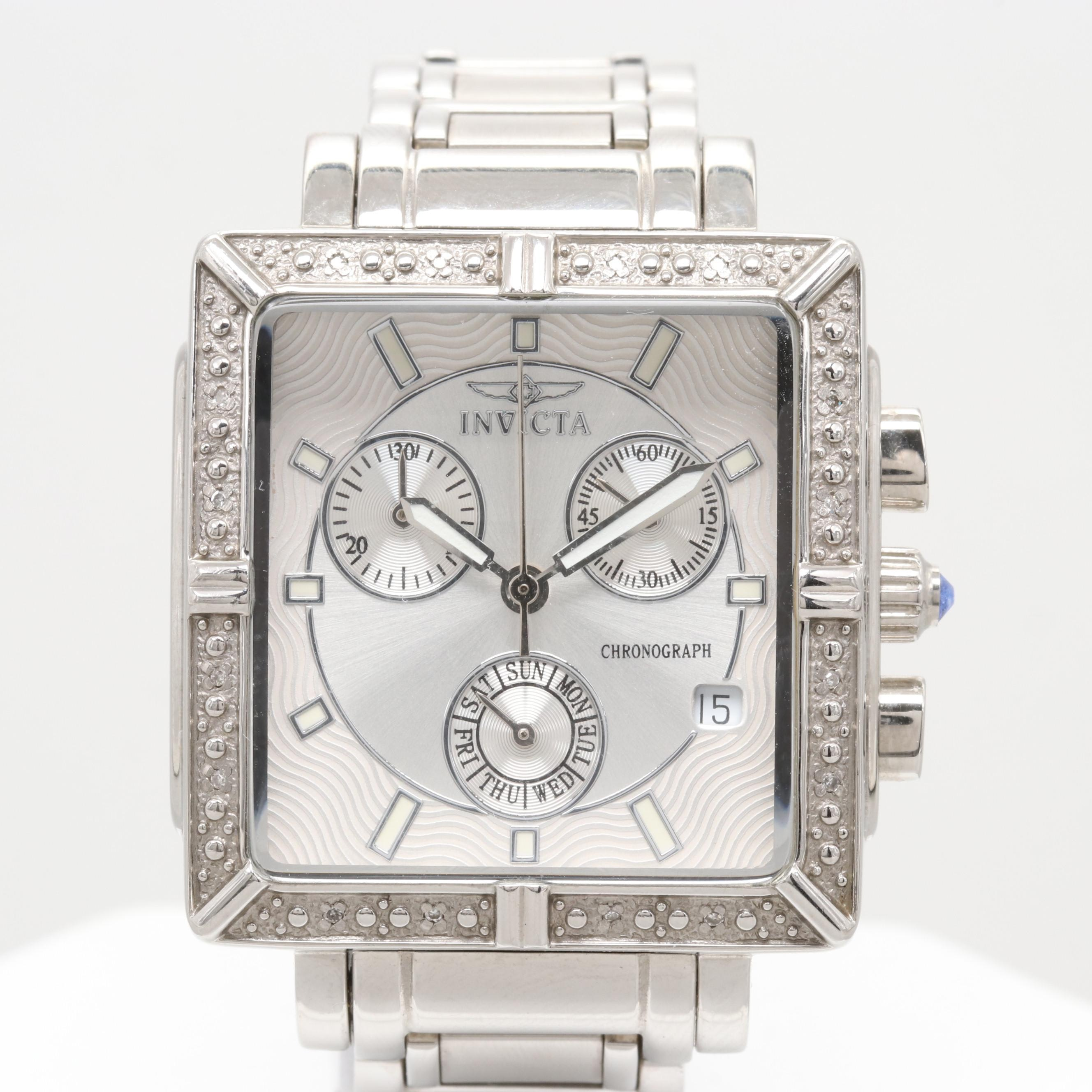 "Invicta ""Fiery Sun Worshipers"" Stainless Steel Diamond Chronograph Wristwatch"