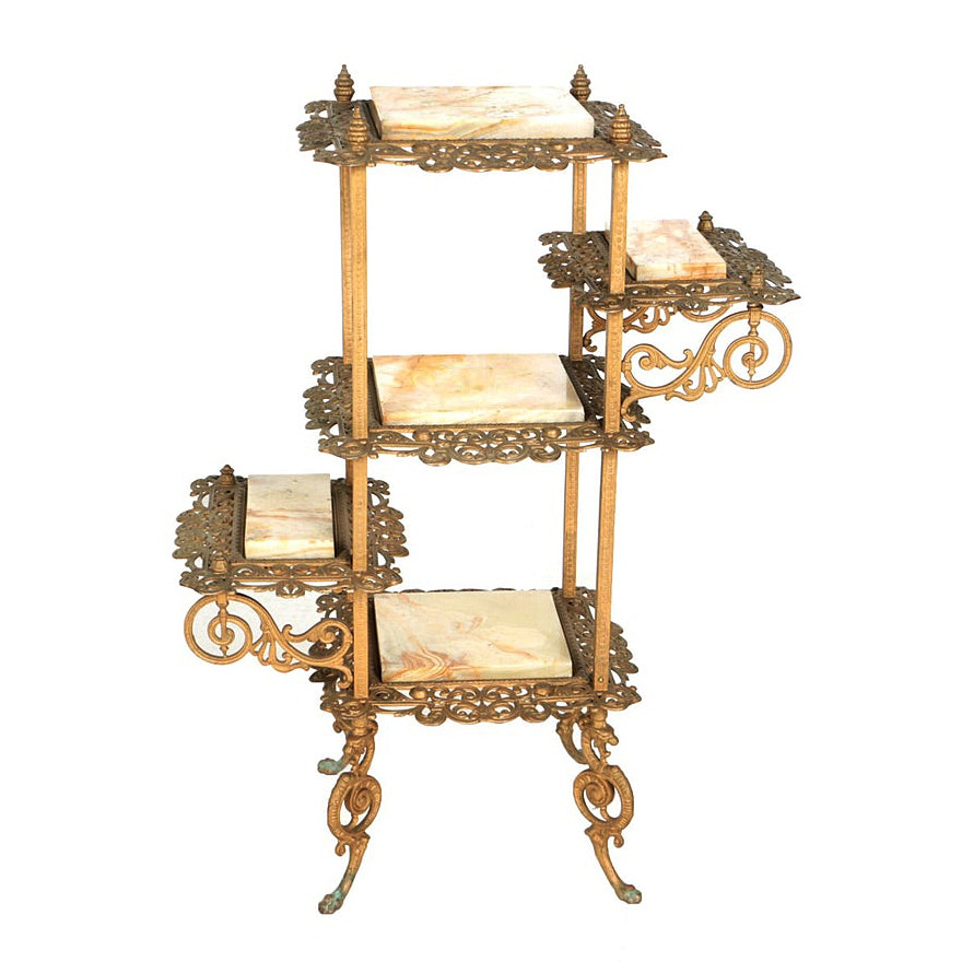 Late Victorian Gilt-Metal and Onyx Five-Tier Stand, Late 19th/Early 20th Century