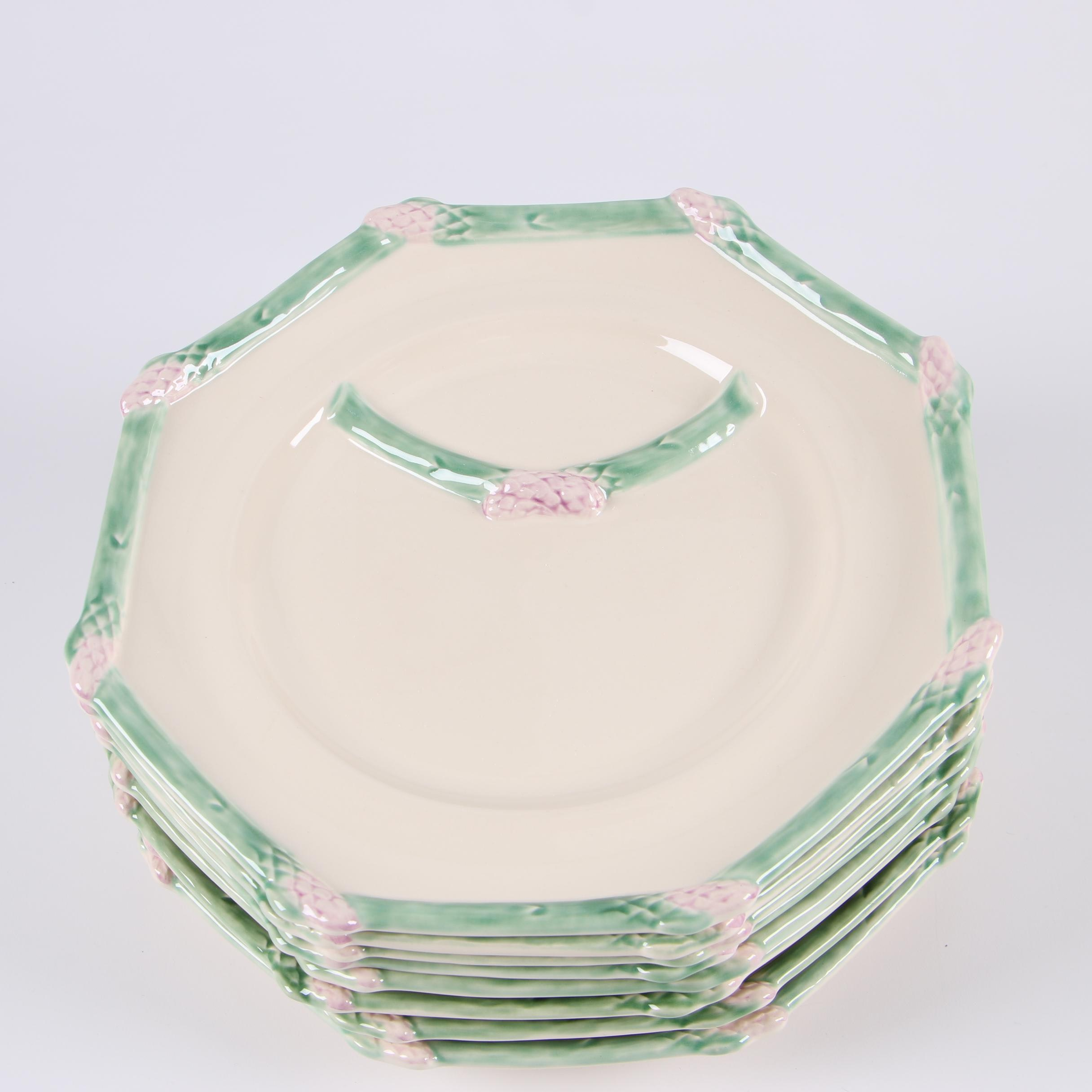 Bordallo Pinheiro Asparagus Themed Majolica Dinner Plates