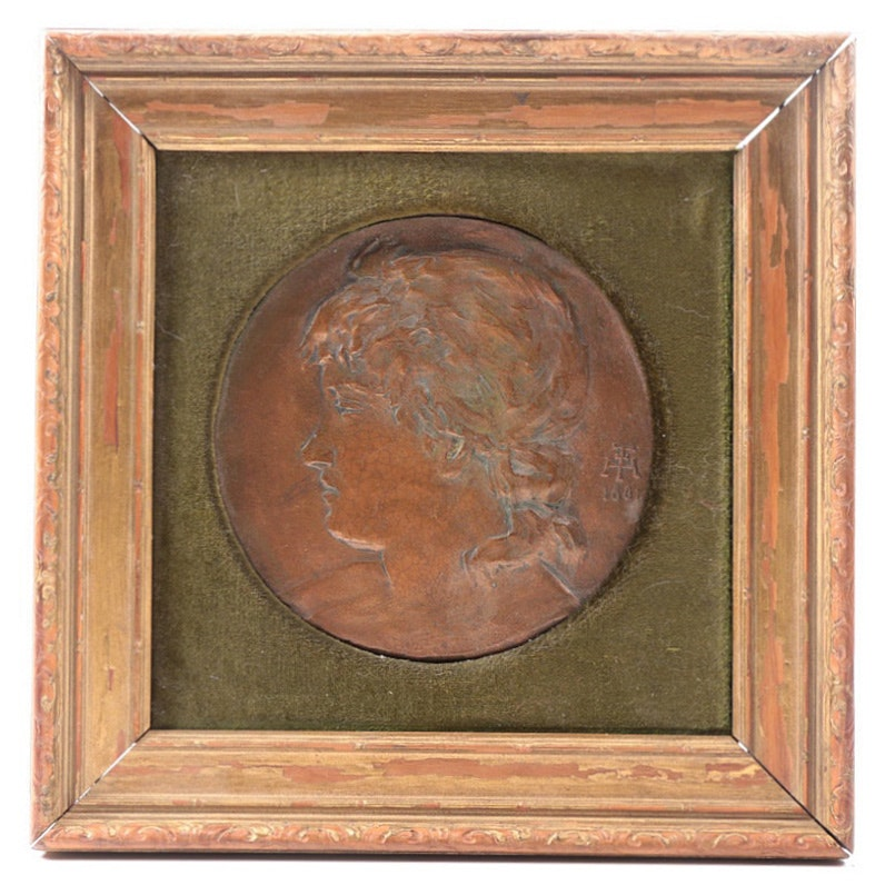 Henry Farny Copper Plaque Dated 1881