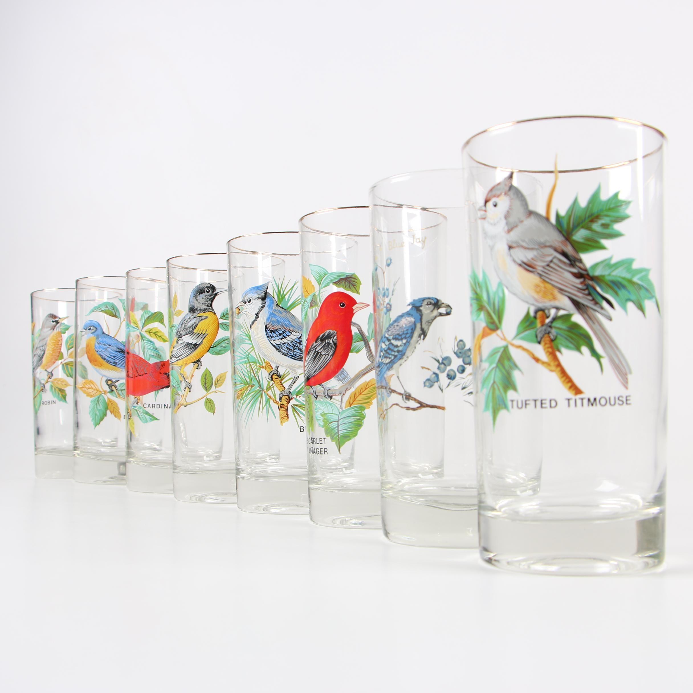Hand Painted Bird Motif Water Glasses