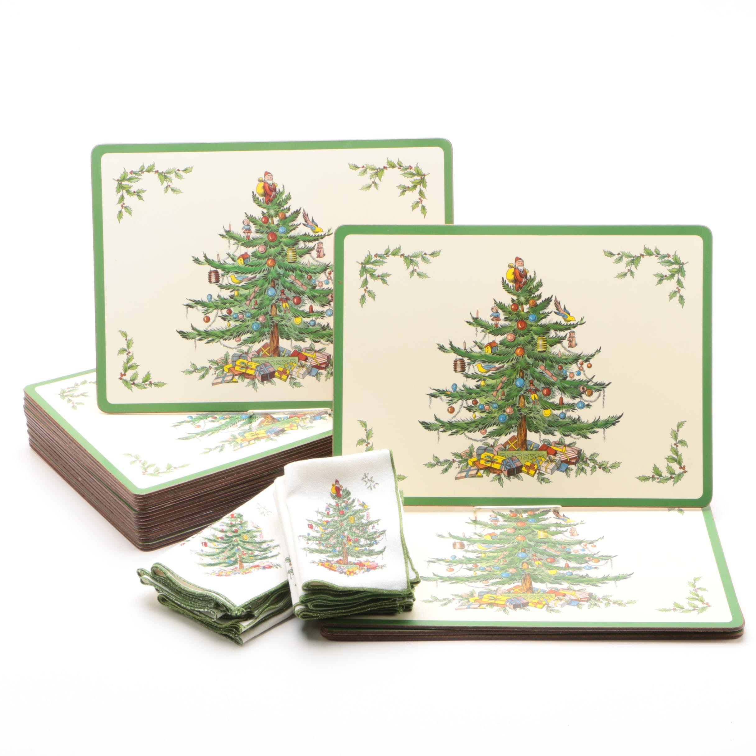 """Pimpernel for Spode """"Christmas Tree"""" Cork Backed Placemats with Cloth Napkins"""