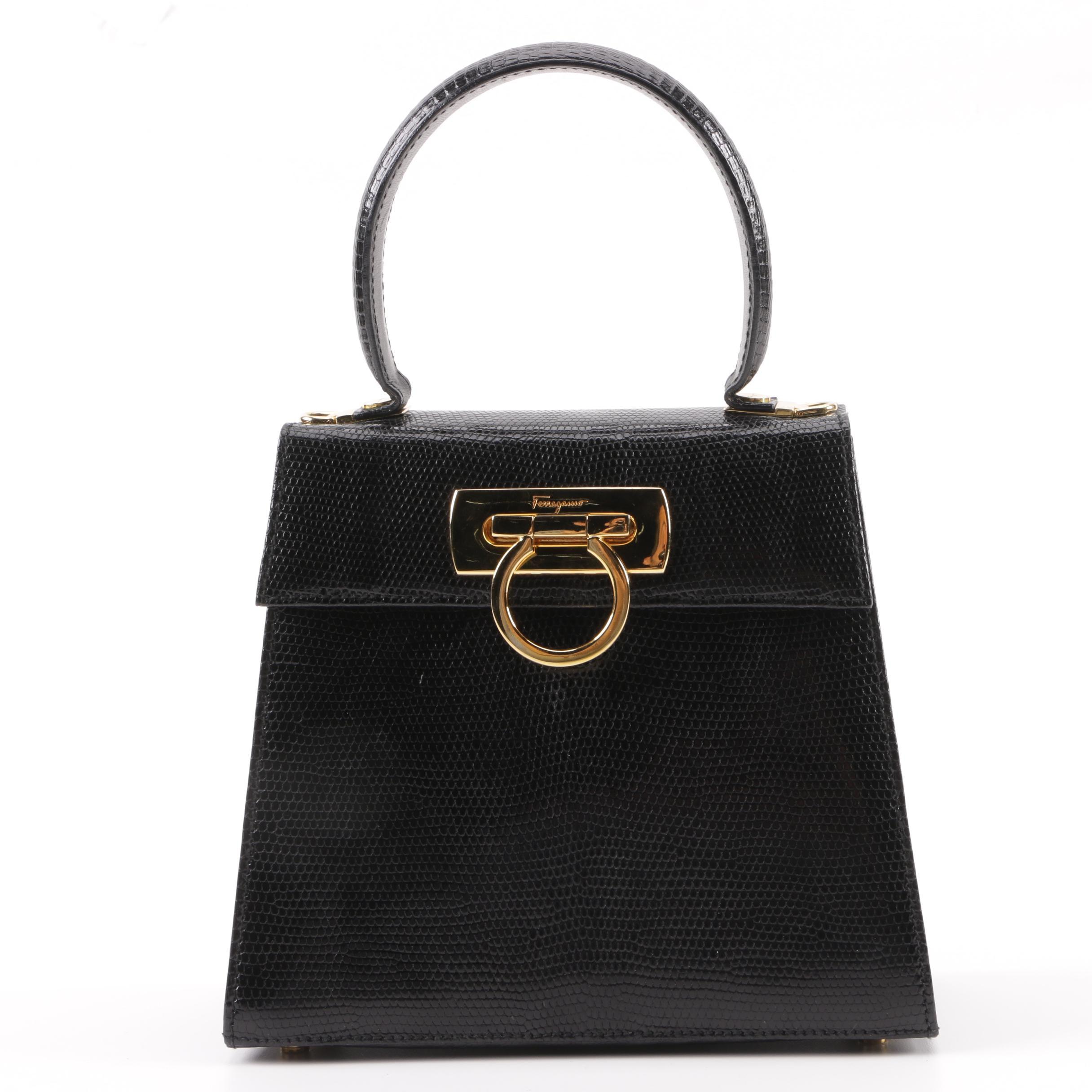 Salvatore Ferragamo Black Lizard Embossed Leather Lady Gancini Handbag