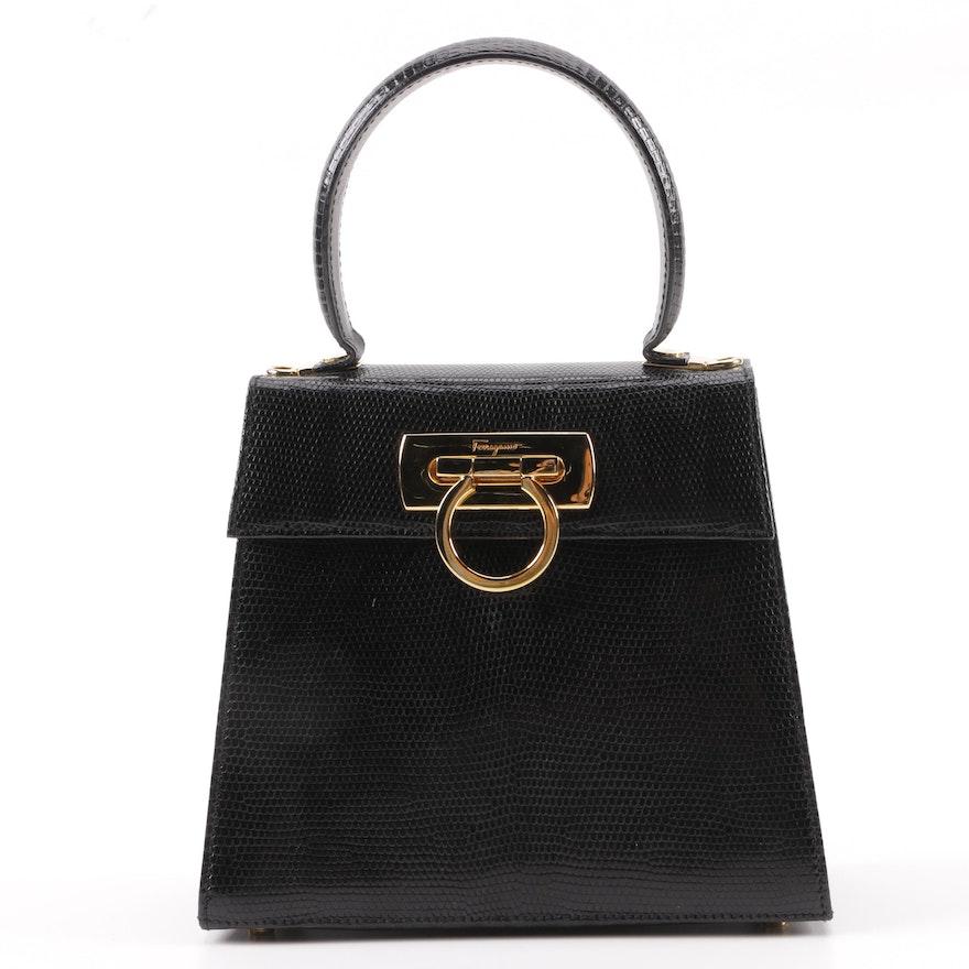 01dab49e69 Salvatore Ferragamo Black Lizard Embossed Leather Lady Gancini Handbag    EBTH
