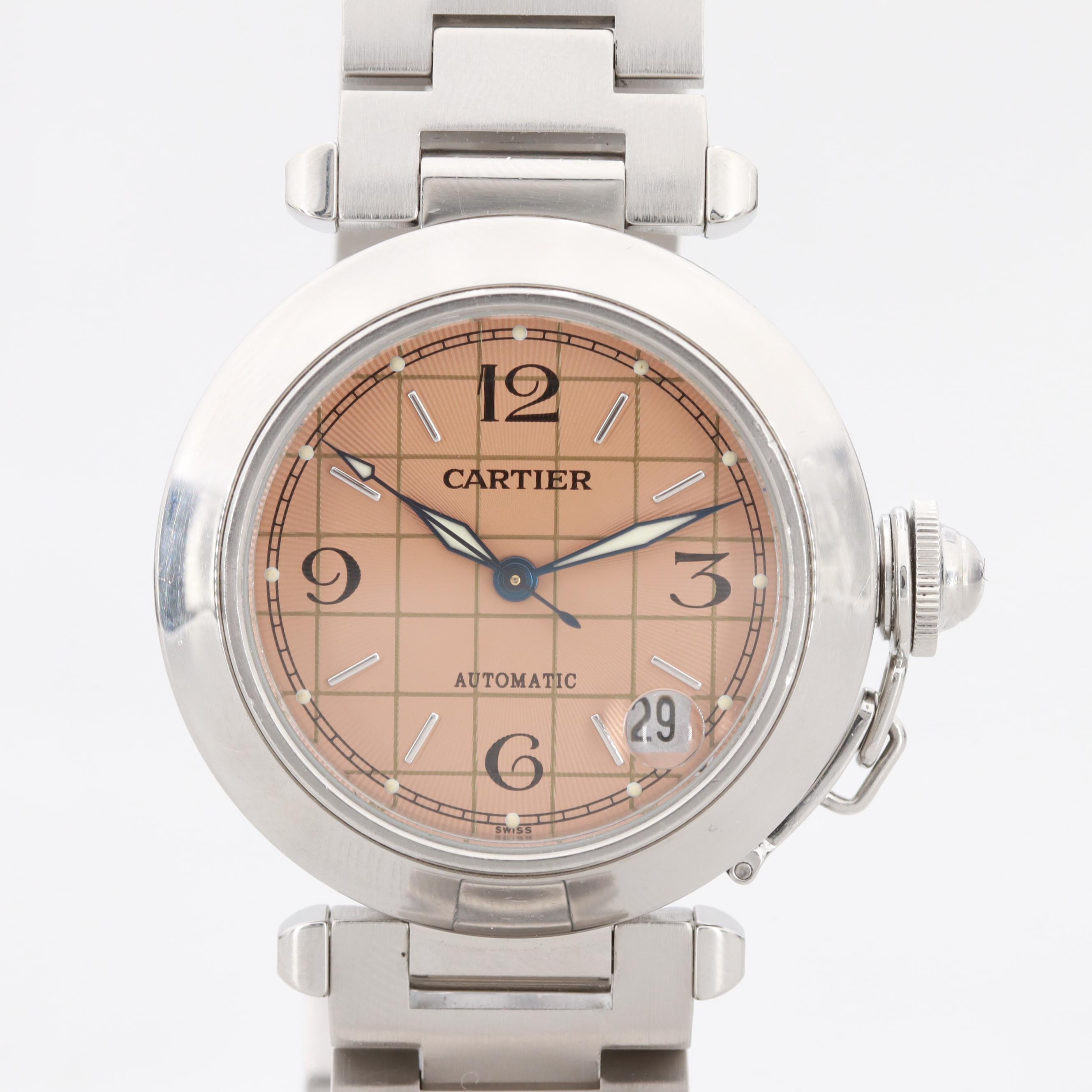 Pasha de Cartier Stainless Steel Automatic Wristwatch With Date Window