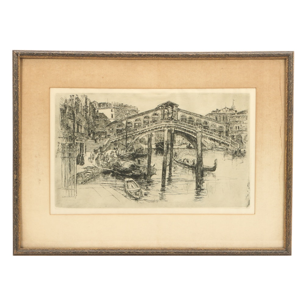 "Frank Duveneck Etching ""The Rialto Bridge, Venice"""
