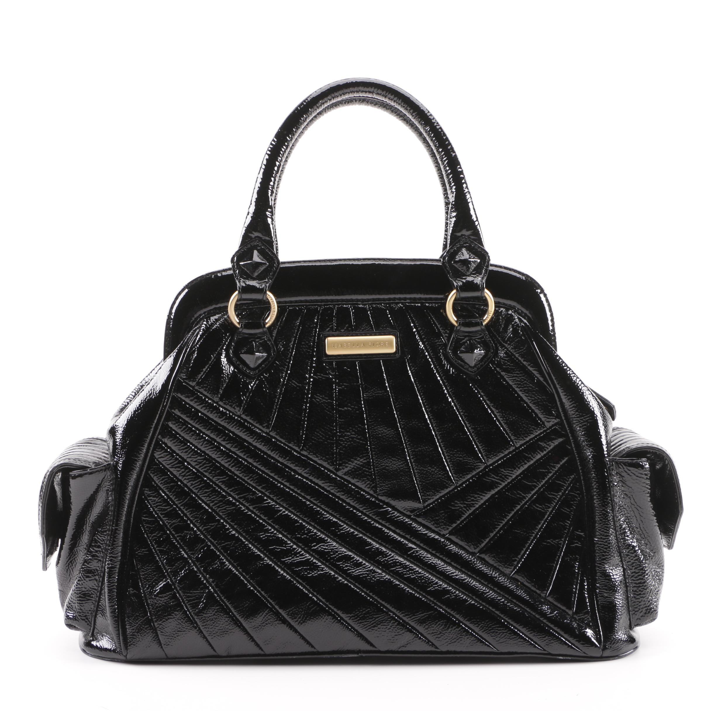 Isabella Fiore Quilted Black Patent Leather Satchel
