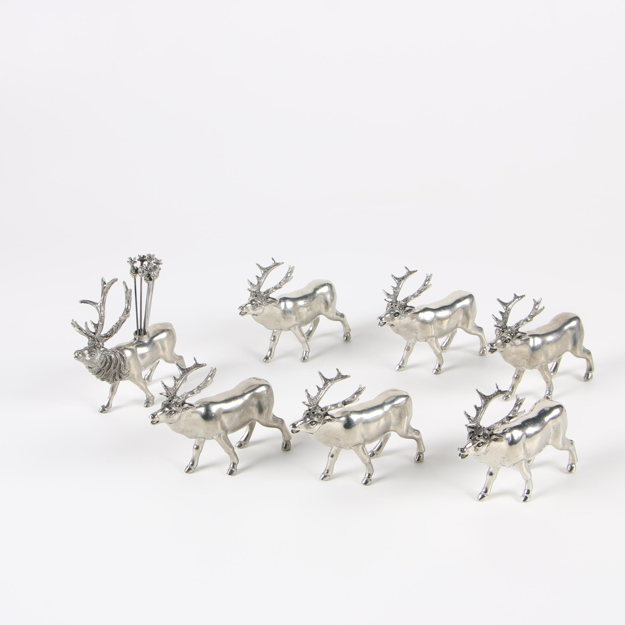 Pewter Caribou Salt and Pepper Shakers with Cocktail Pick Holder