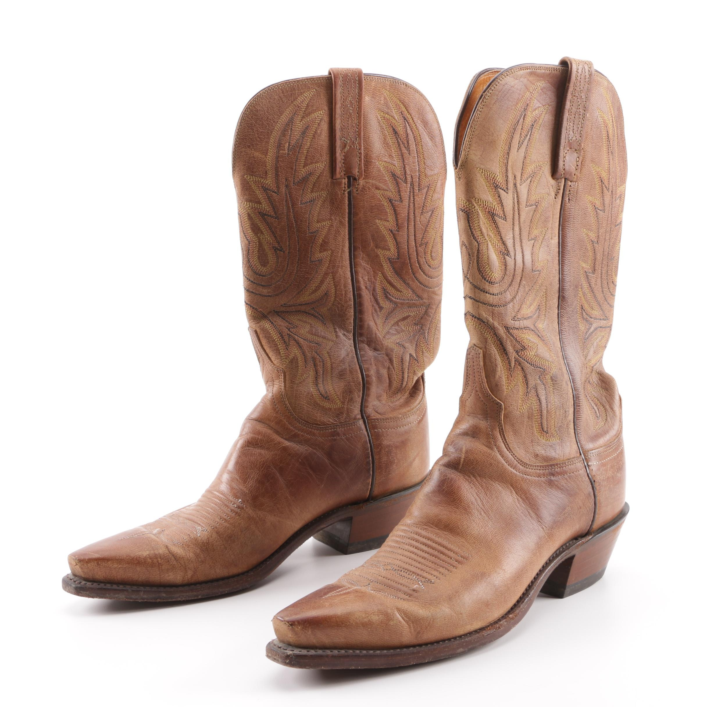 Women's Lucchese Embroidered Tan Leather Western Boots