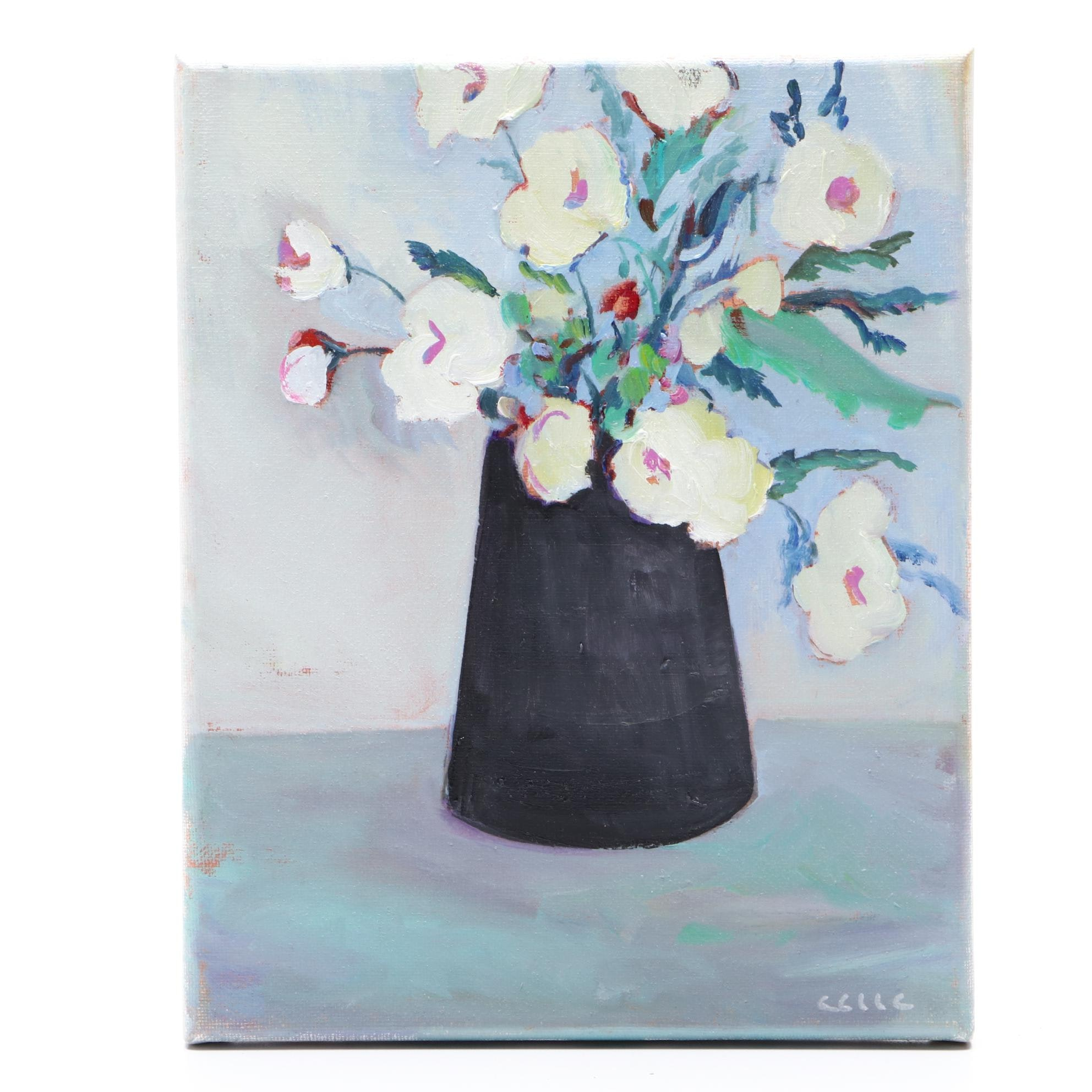 "CCLLC Oil Painting ""Vase of Flowers in White & Blue"""