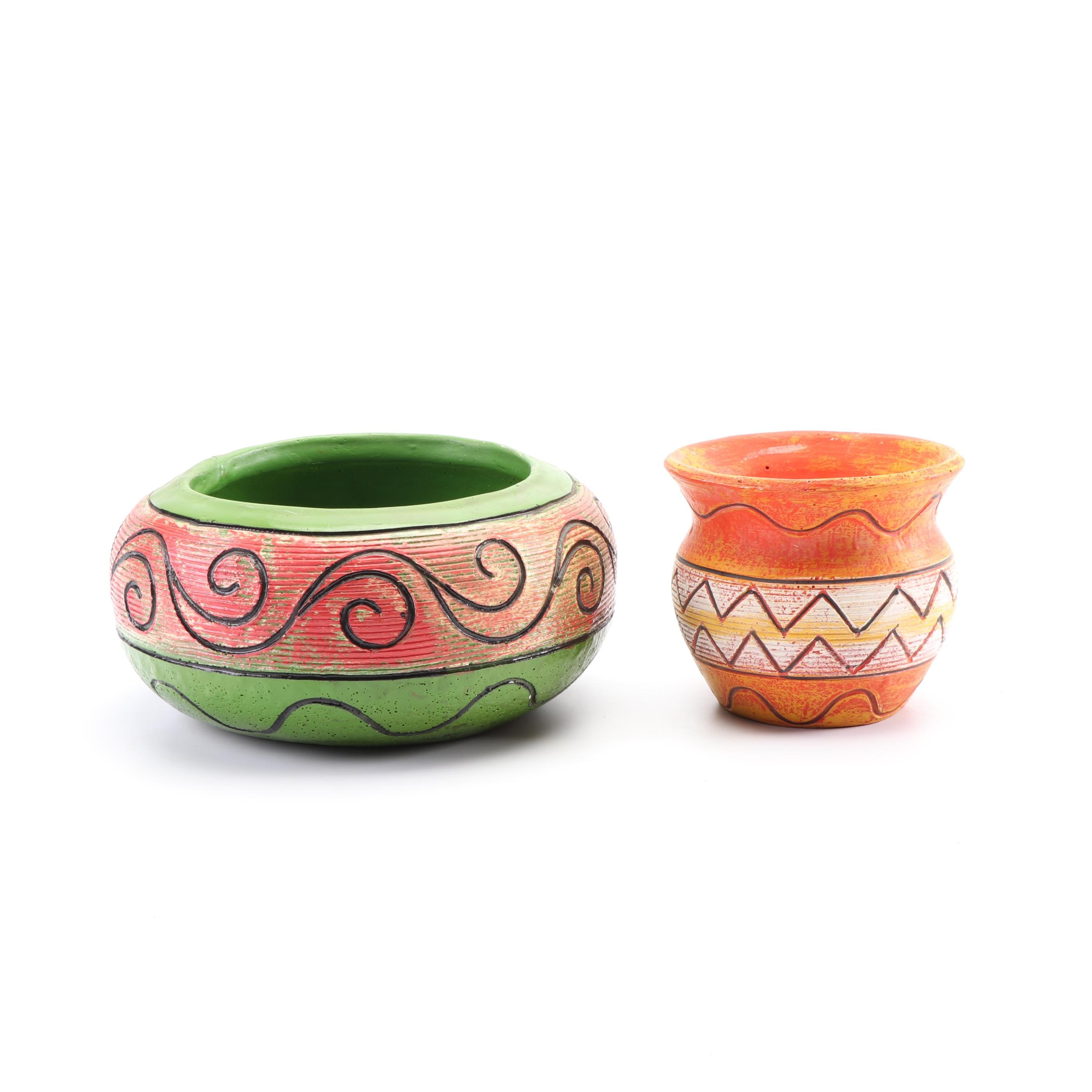 North American Hand-Painted Ceramic and Plaster Planters