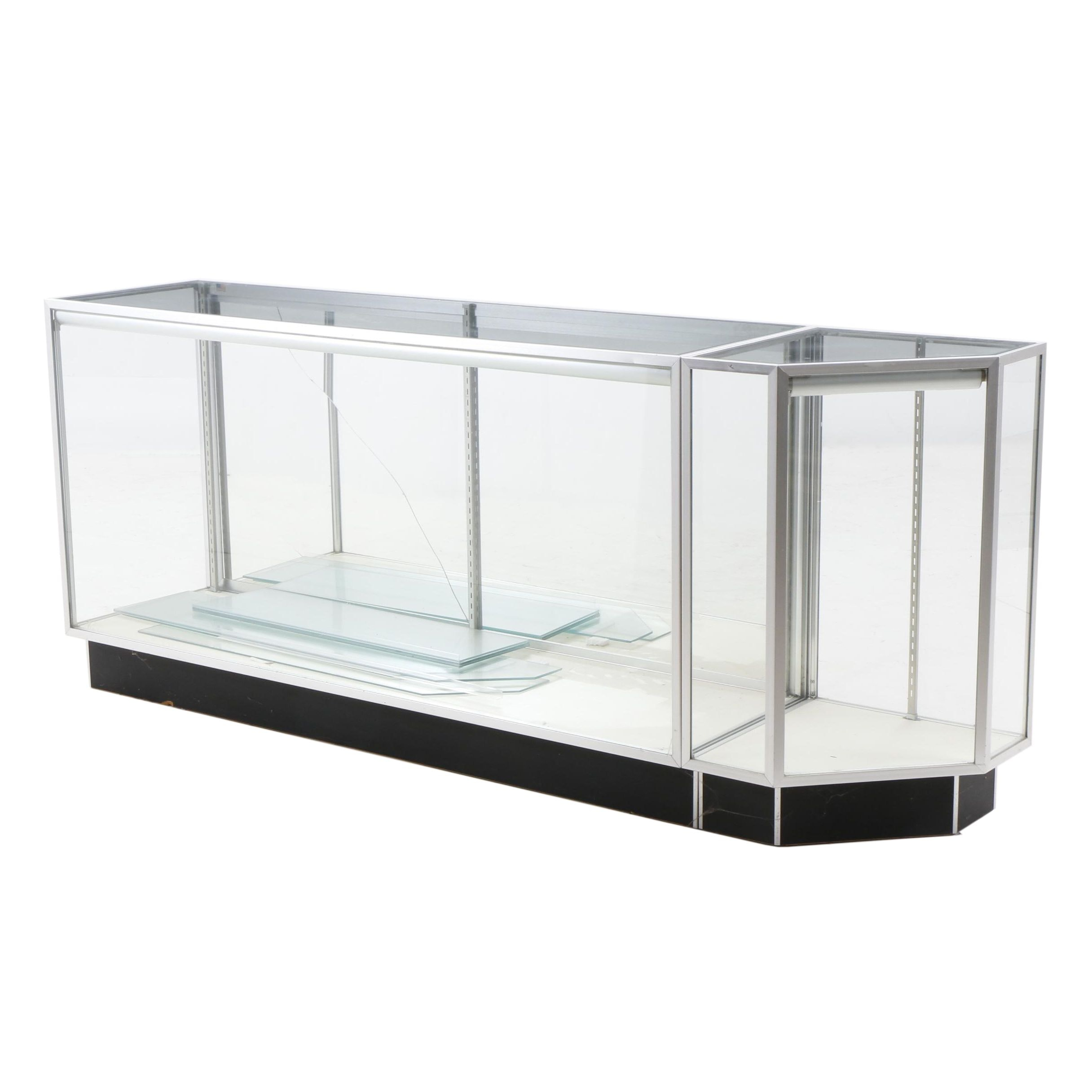 Large Lighted Aluminum and Glass Display Case