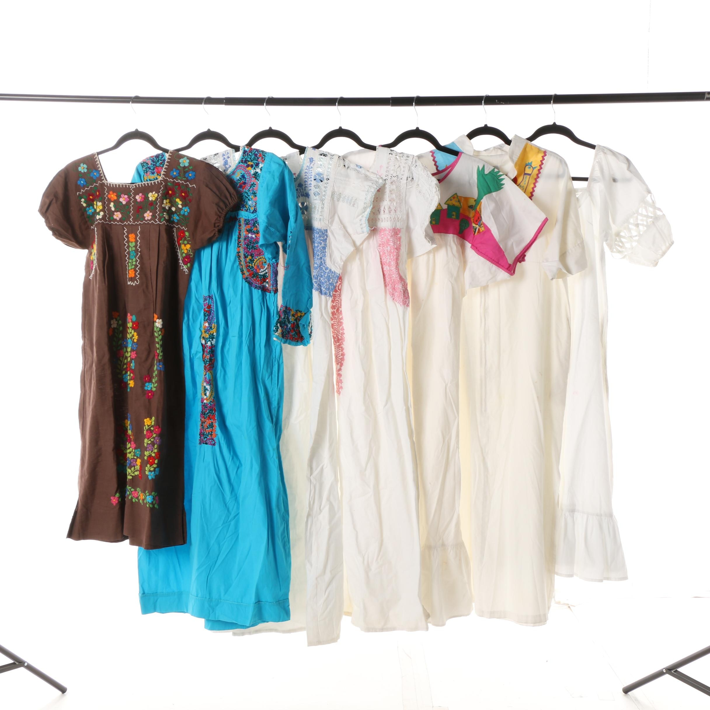 Women's Vintage Embroidered Cotton Caftans and Lounge Wear including Hyacinth
