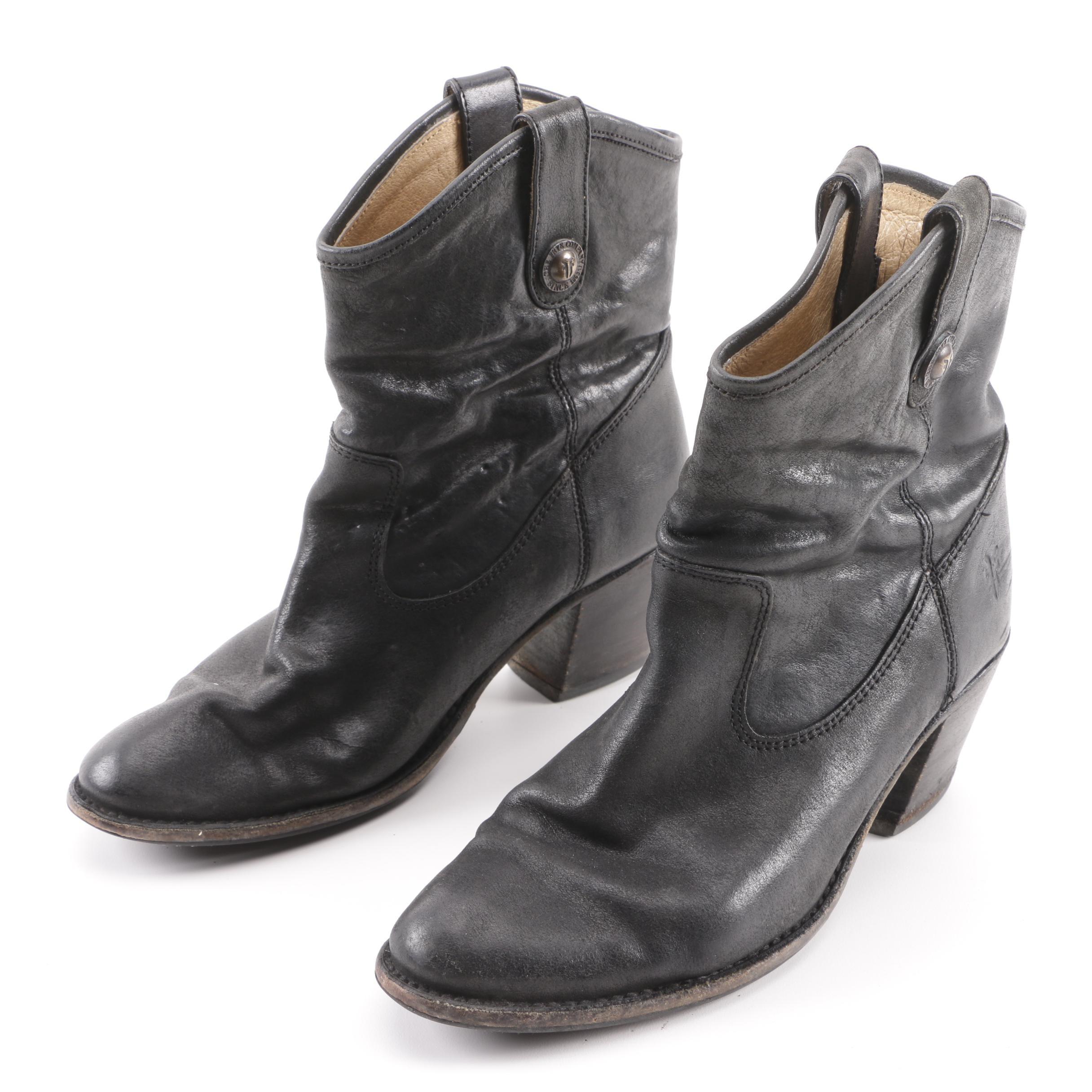 Women's Frye Jackie Button Short Black Leather Boots